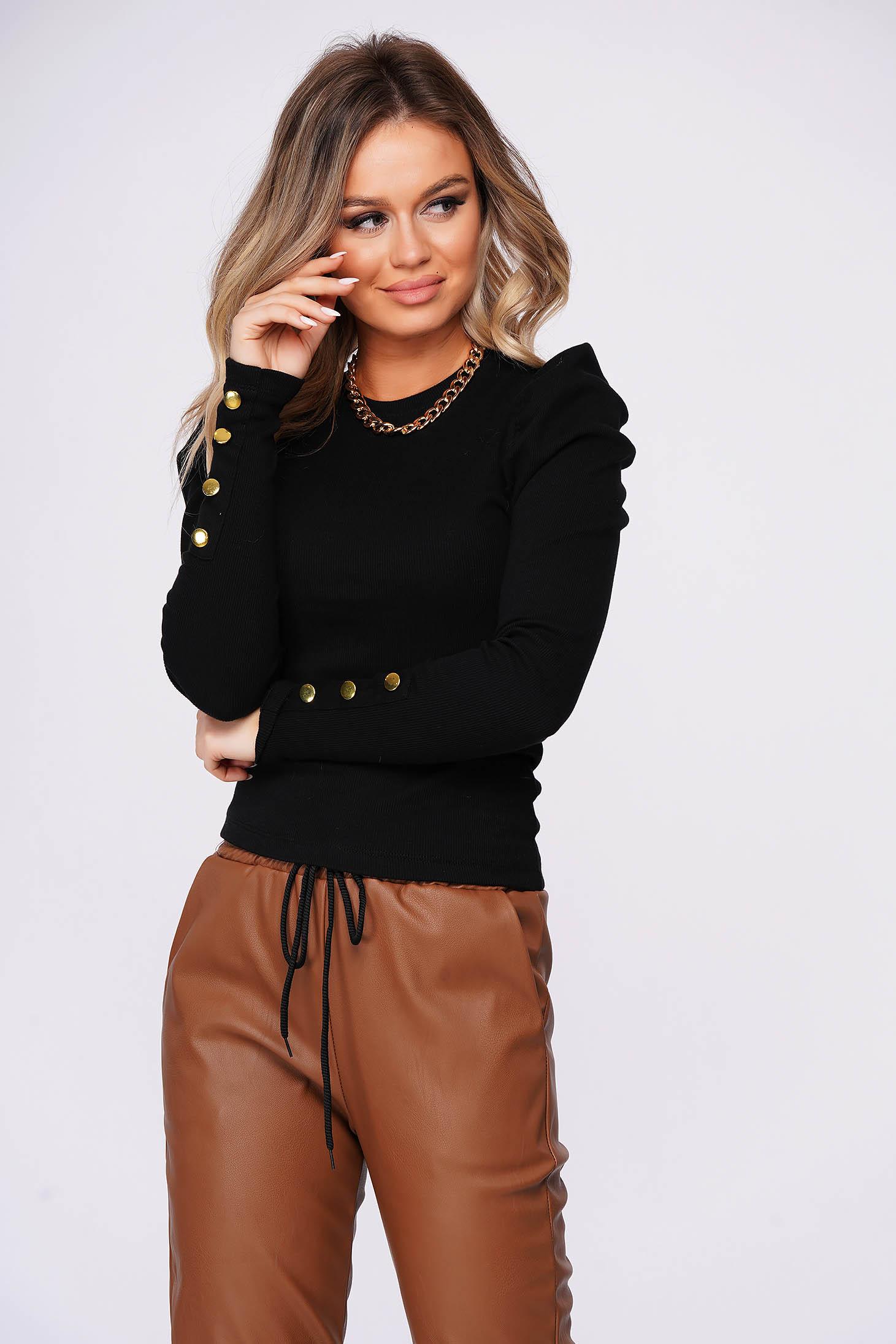 Black short cut tented cotton women`s blouse high shoulders