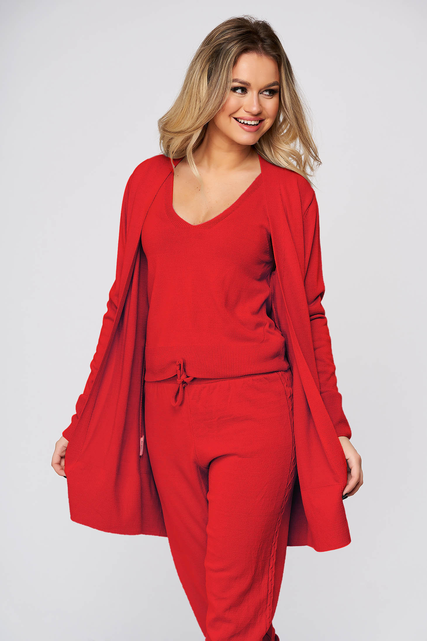Casual knitted fabric red sport 2 pieces women`s sweater