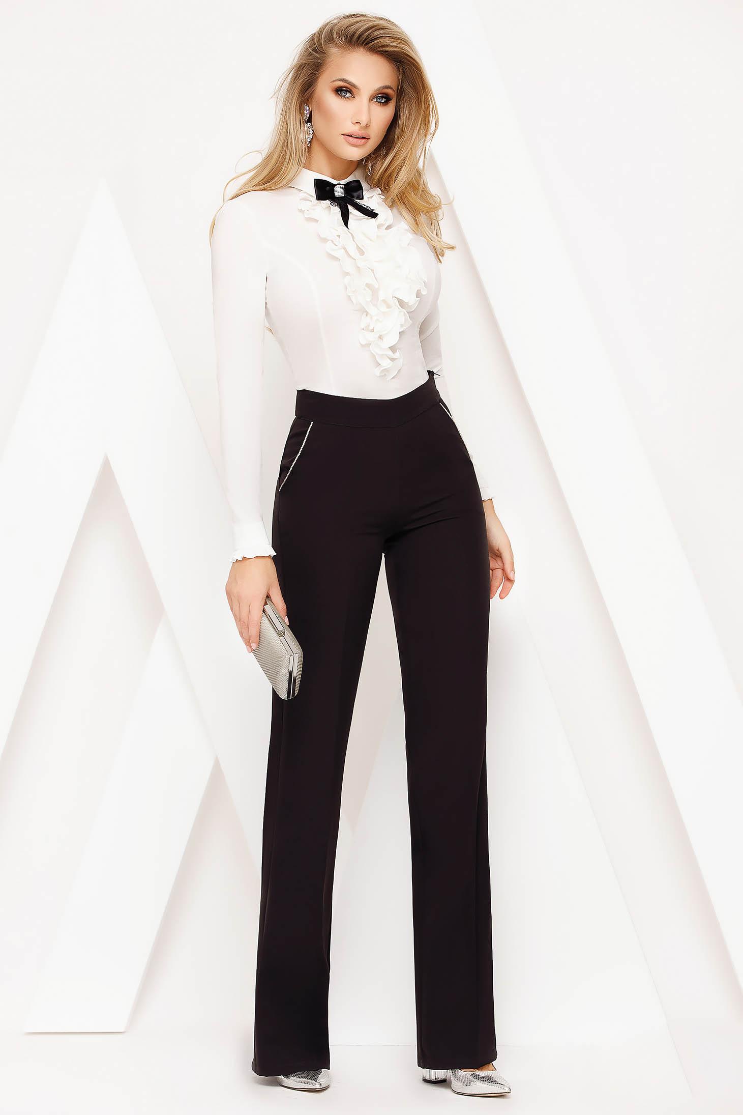 Black trousers elegant high waisted flared cloth