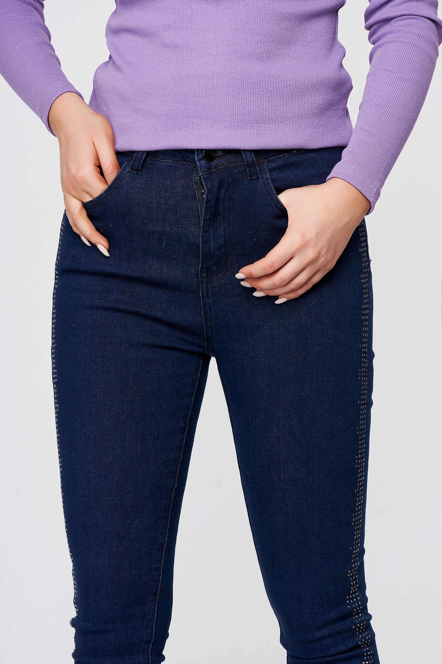 Blugi Top Secret albastru-inchis casual skinny cu talie medie din bumbac usor elastic