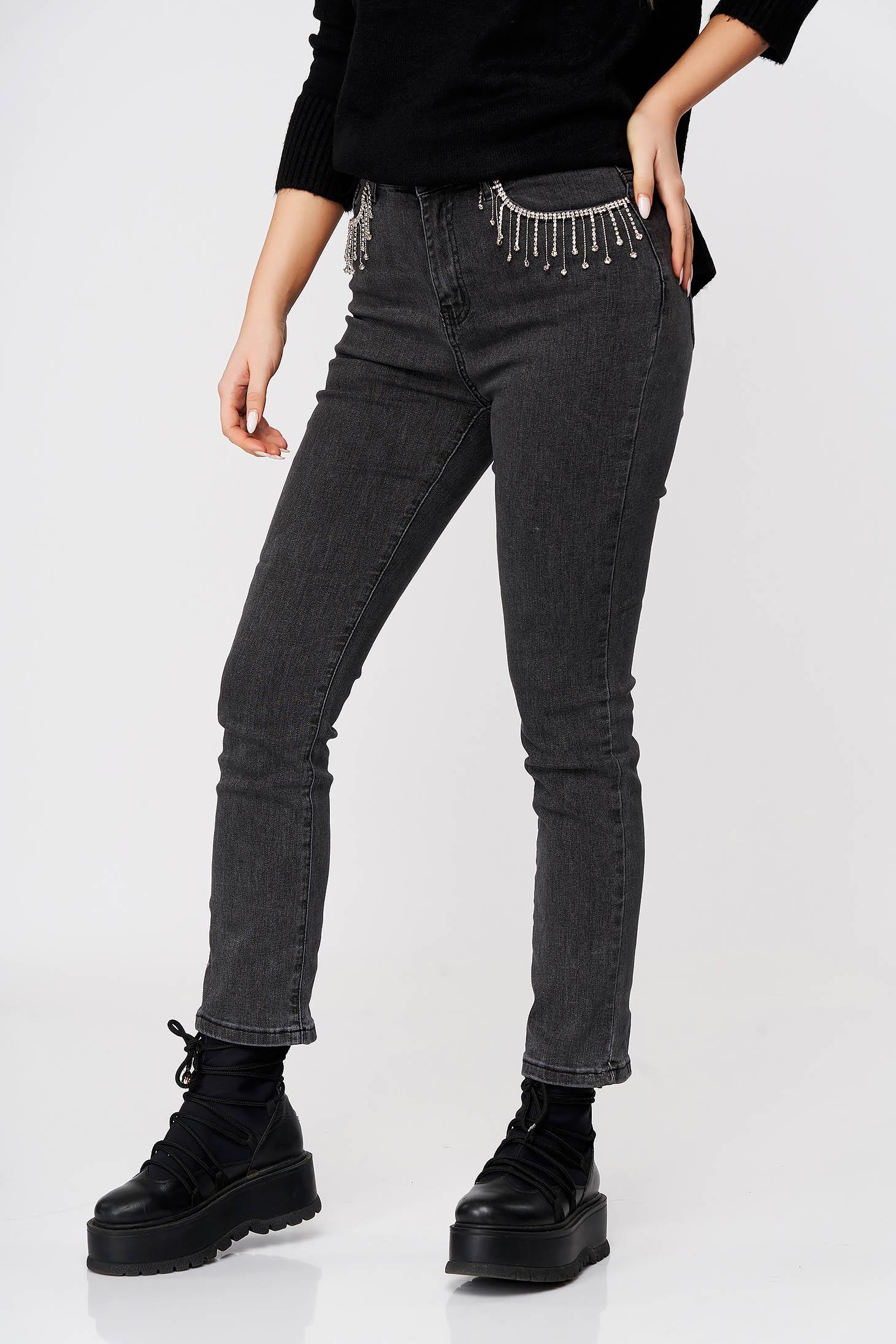 Darkgrey jeans casual skinny jeans medium waist slightly elastic cotton with crystal embellished details