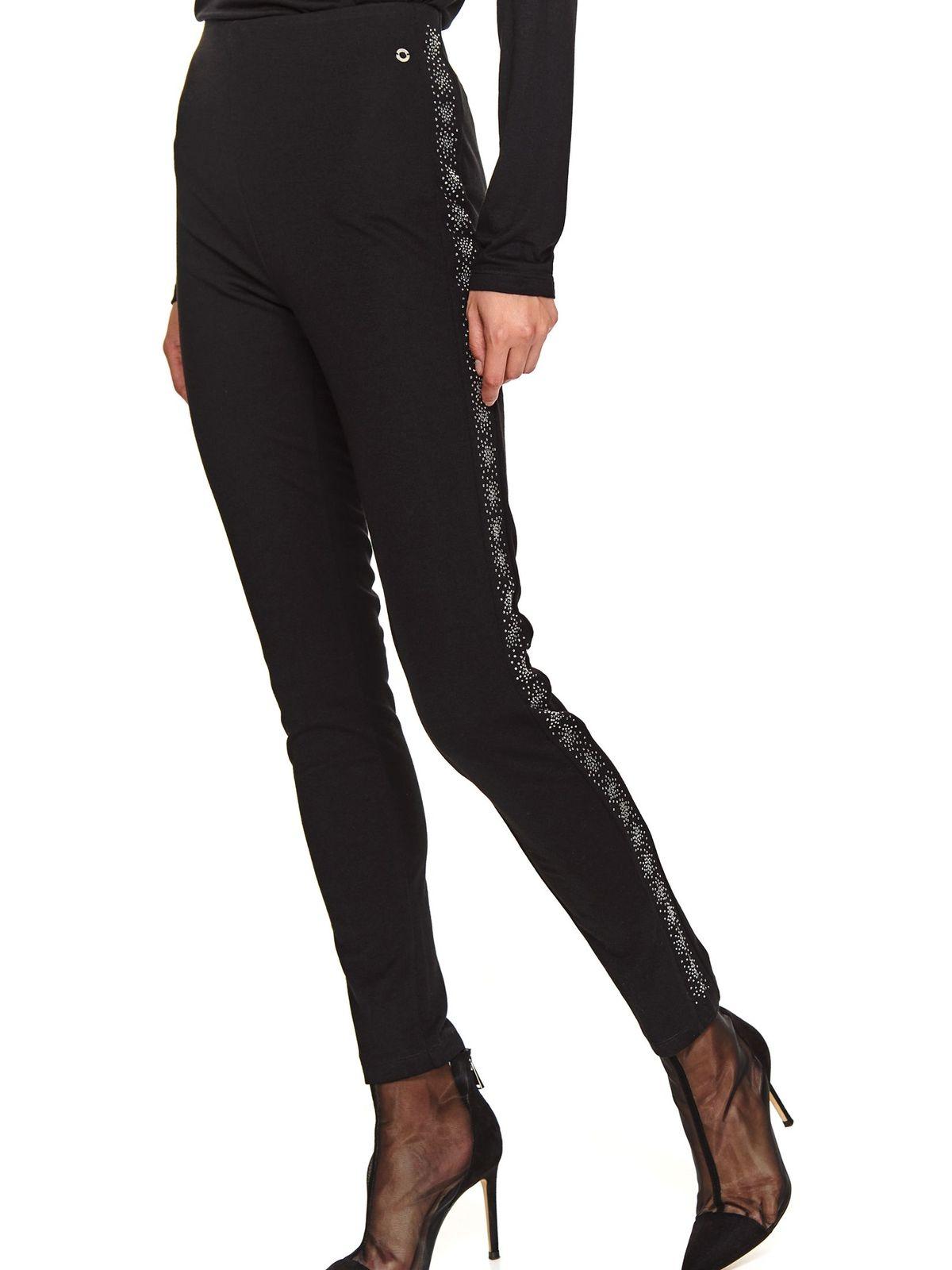 Colanti Top Secret negru cu talie inalta cu elastic in talie cu un croi mulat