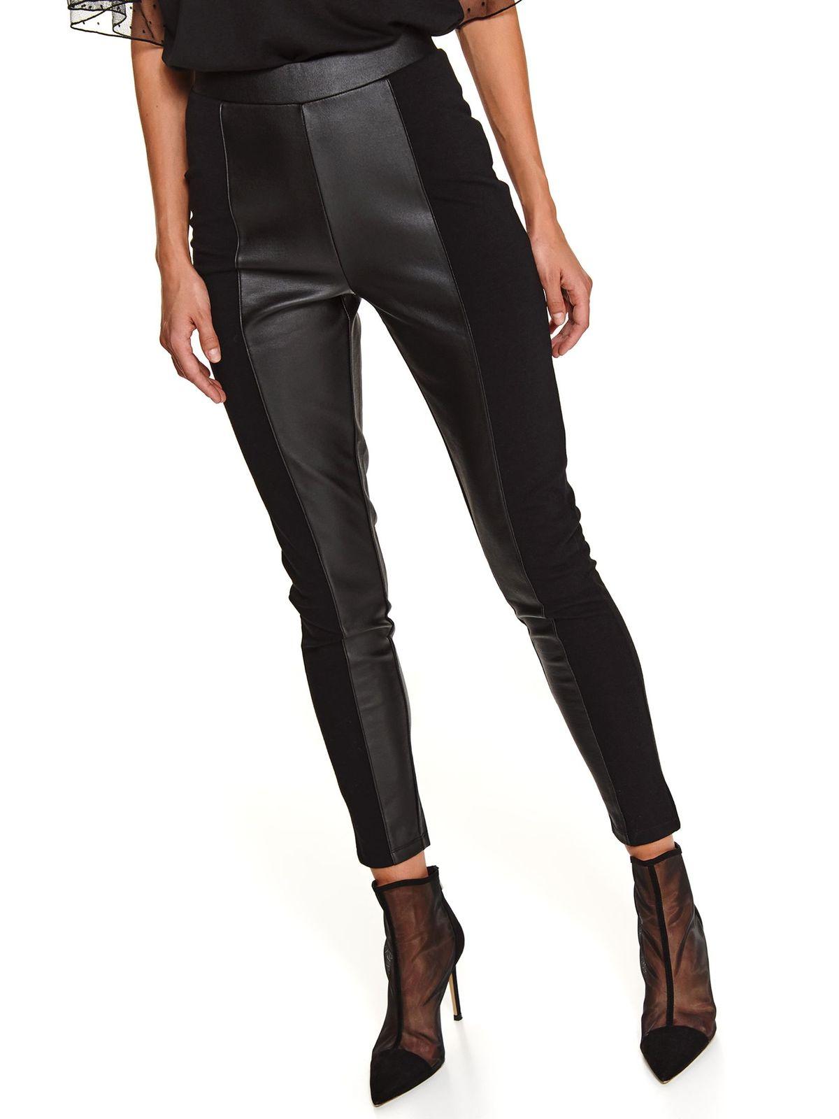 Colanti Top Secret negru cu talie inalta cu elastic in talie din material elastic