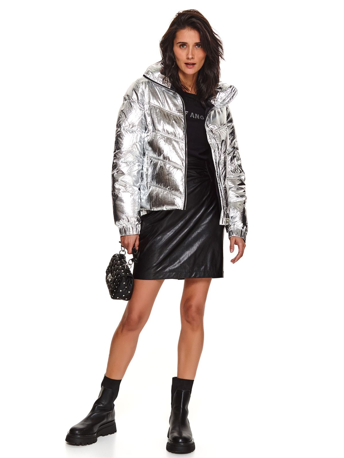 Black skirt short cut high waisted straight faux leather