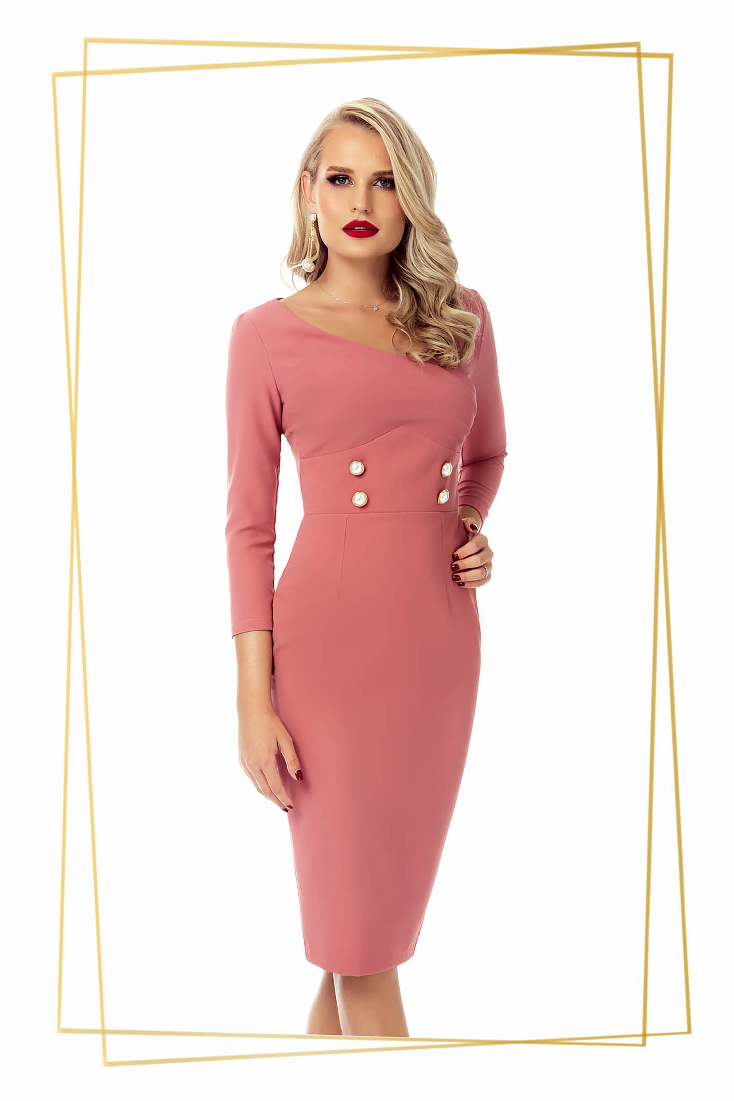 Dress lightpink office midi pencil slightly elastic fabric with button accessories
