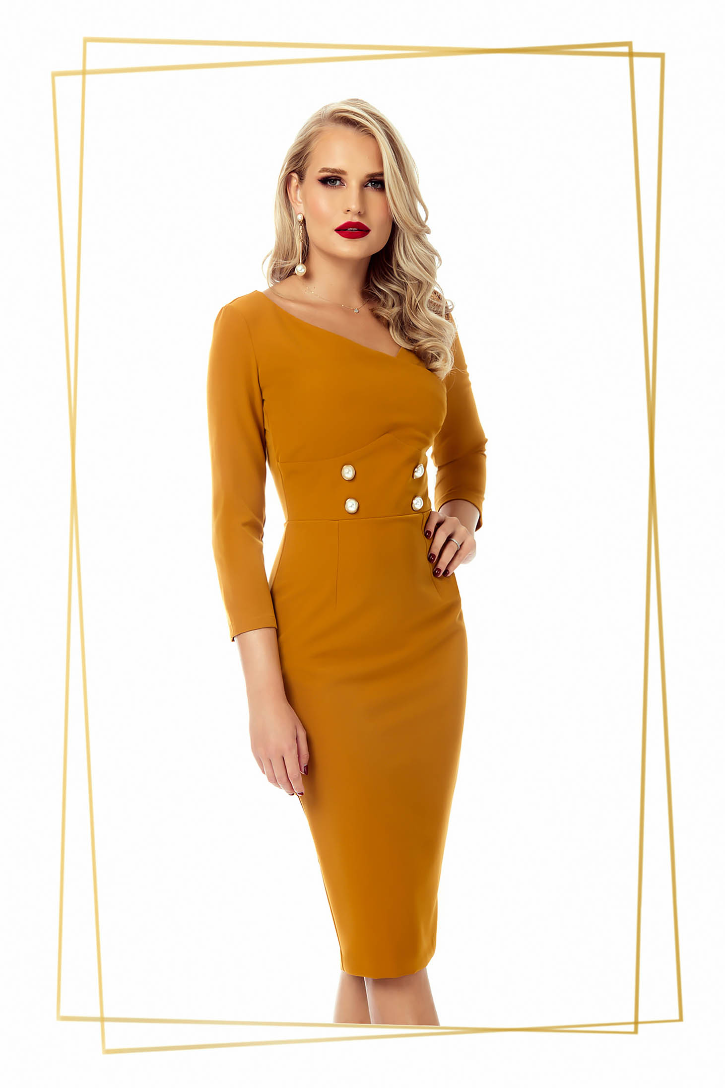 Dress mustard office midi pencil slightly elastic fabric with button accessories