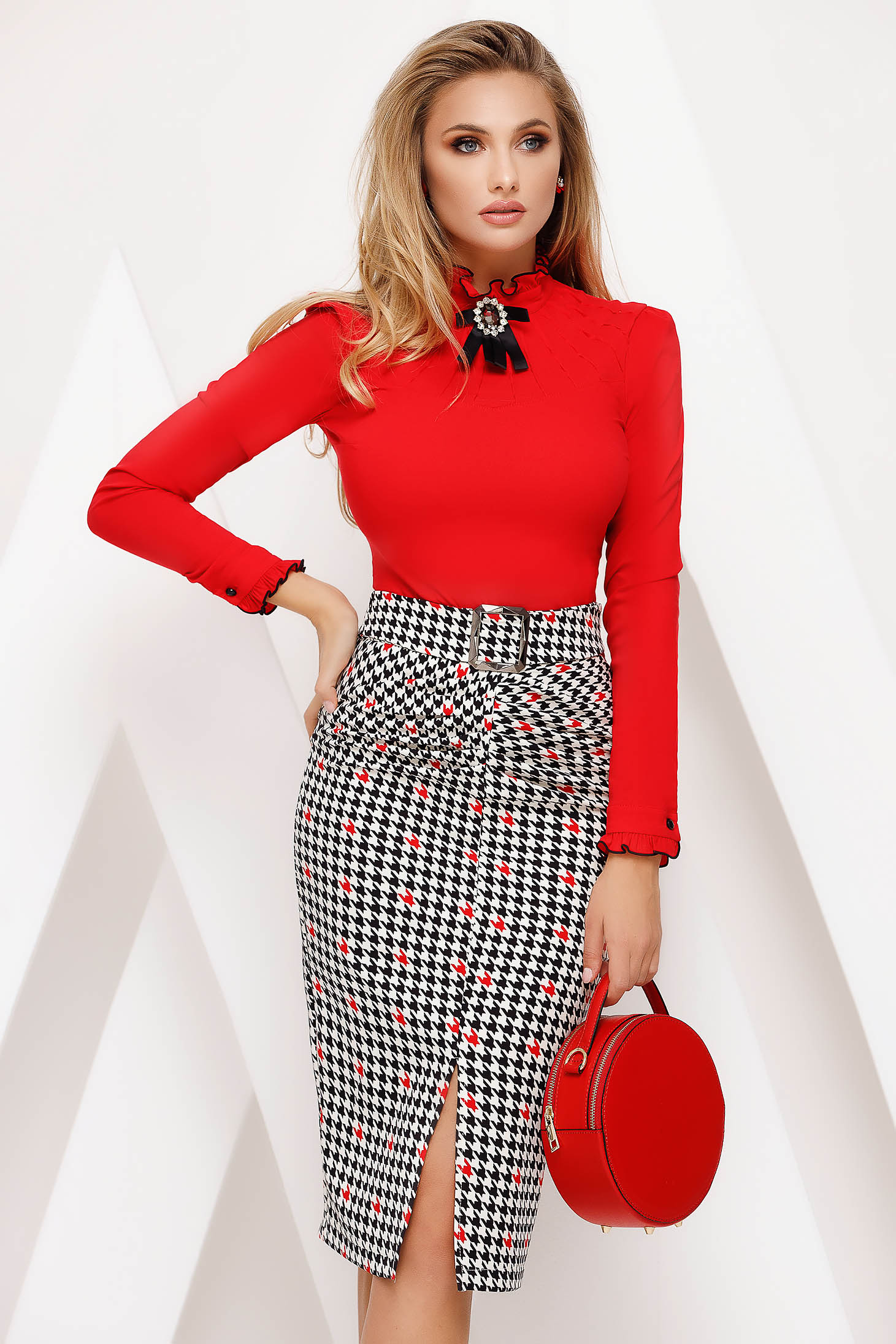 Fusta Fofy rosie office tip creion cu talie inalta din material usor elastic dogtooth
