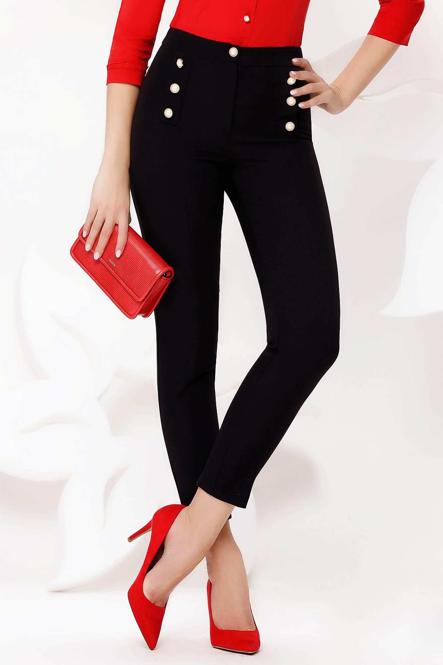 Pantaloni Fofy negri office conici cu talie inalta din stofa usor elastica accesorizati cu nasturi