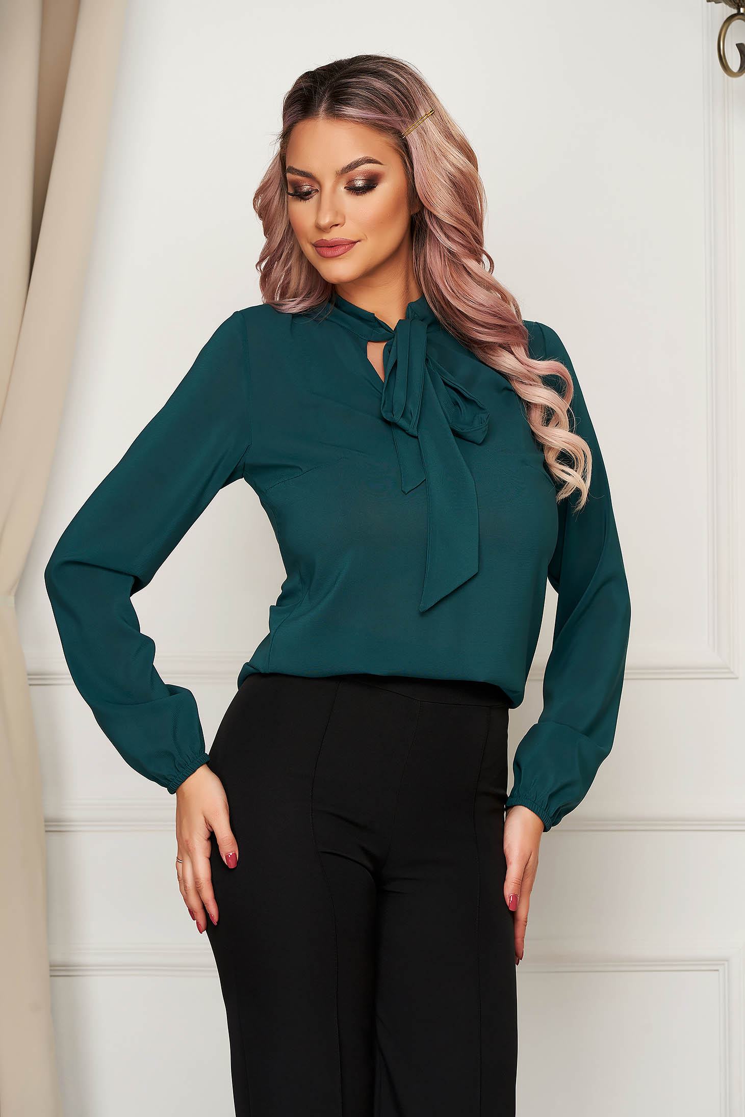 StarShinerS green elegant flared women`s blouse voile fabric long sleeved