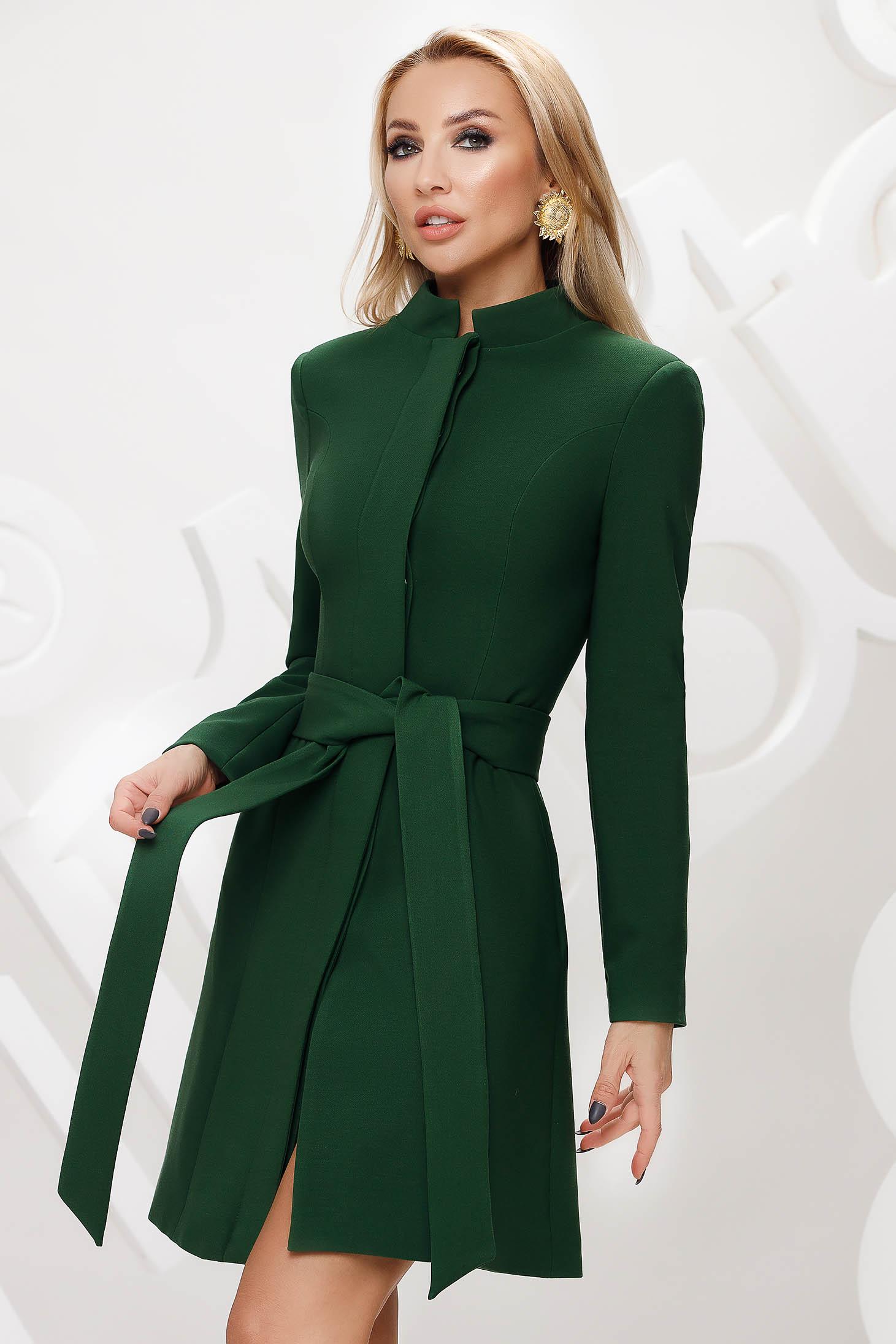 Pardesiu Artista verde elegant in clos captusit pe interior accesorizat cu cordon si fundita