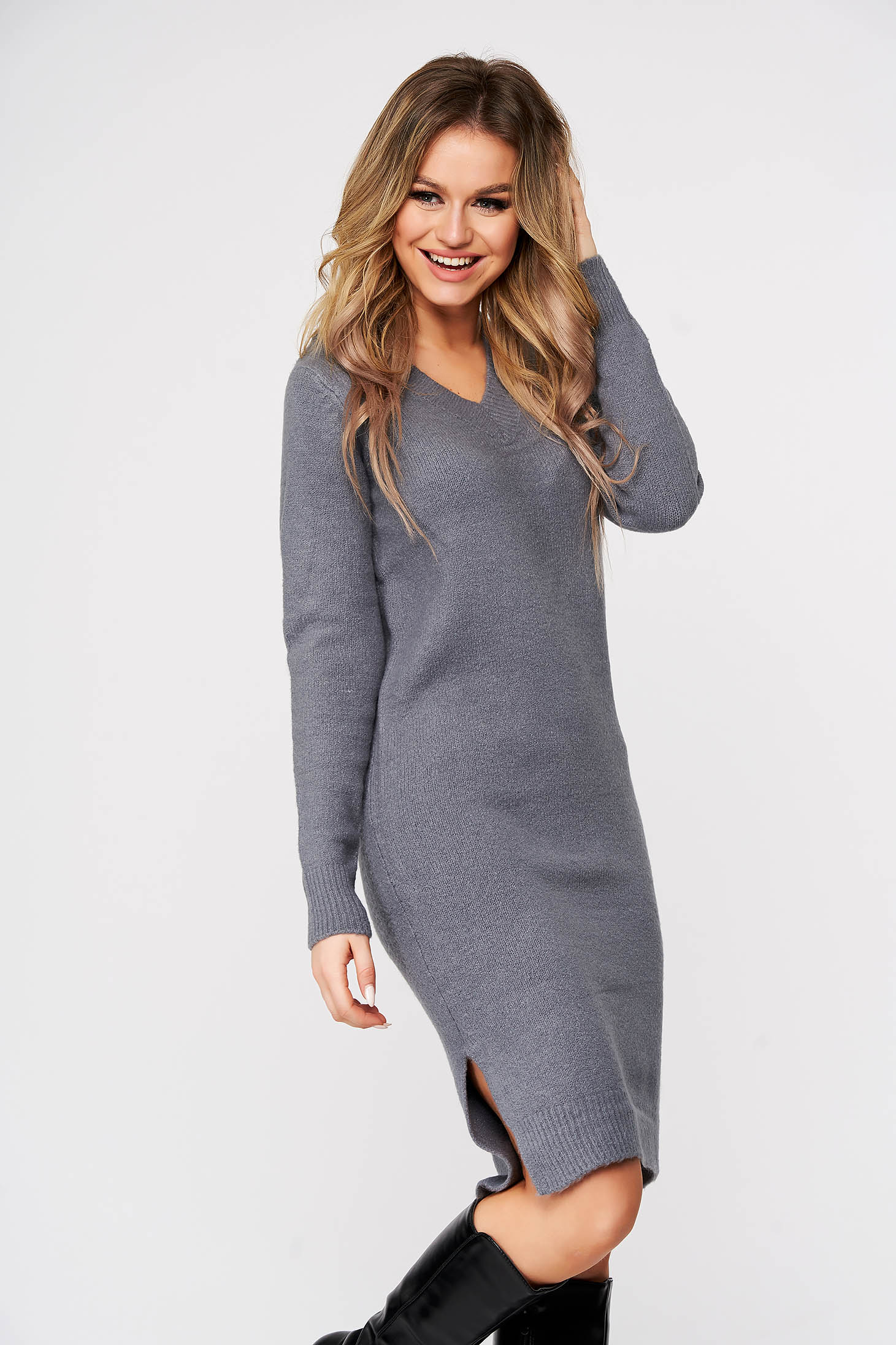 Grey dress midi daily pencil knitted fabric