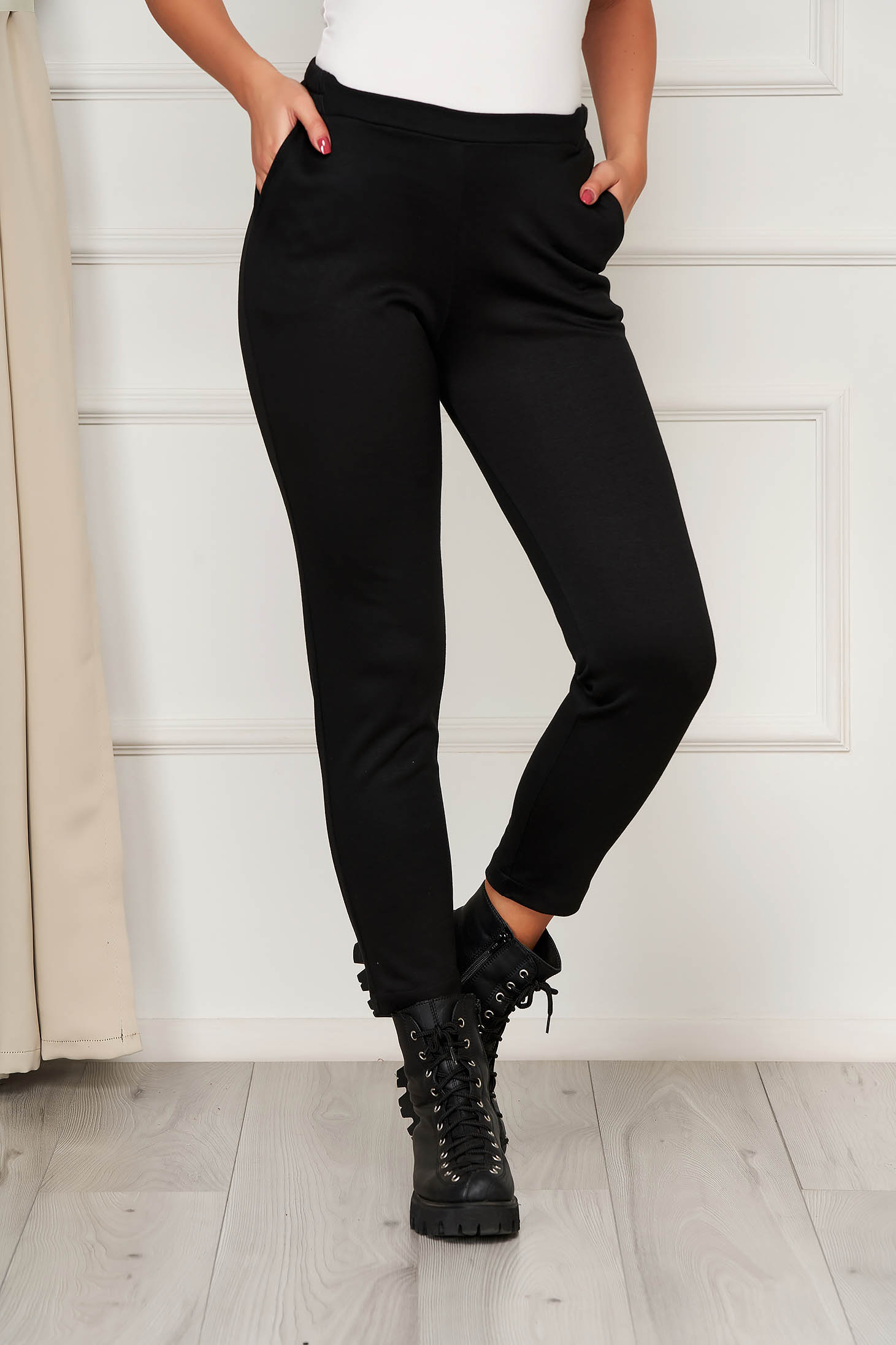 Casual black StarShinerS trousers medium waist with elastic waist with tented cut