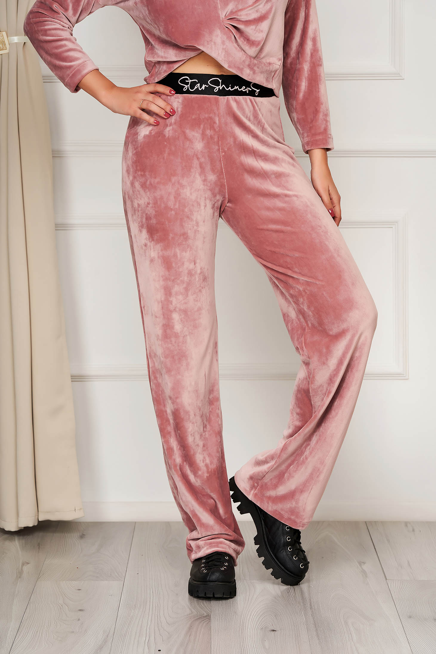 StarShinerS lightpink casual trousers with elastic waist flaring cut velvet front embroidery