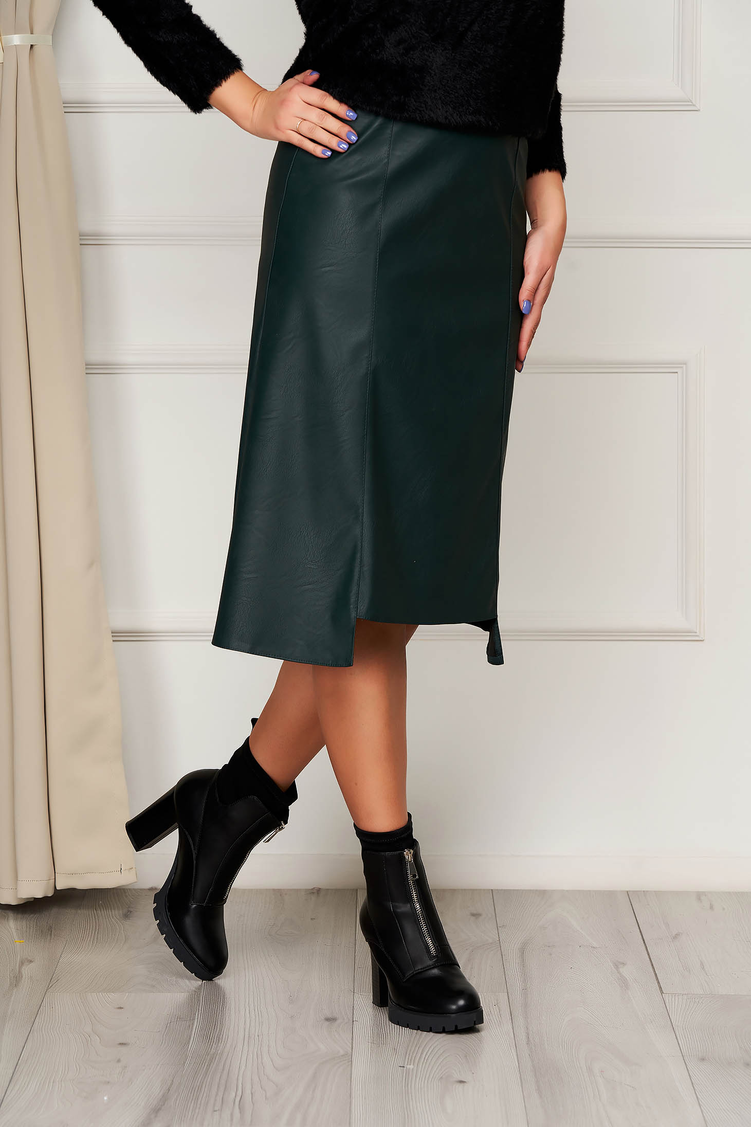 Skirt StarShinerS green midi high waisted from ecological leather office
