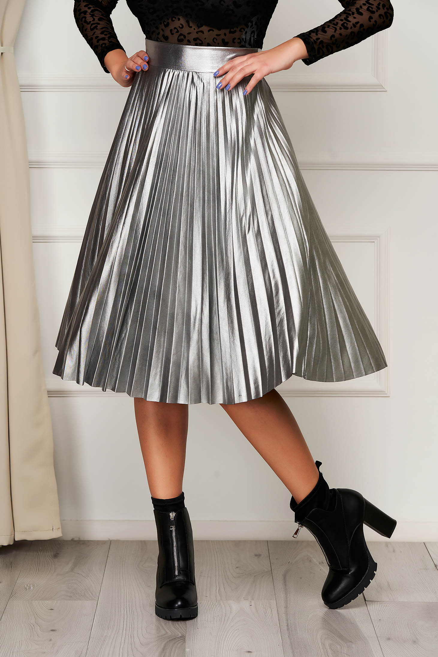 Silver skirt from ecological leather elastic waist flaring cut clubbing