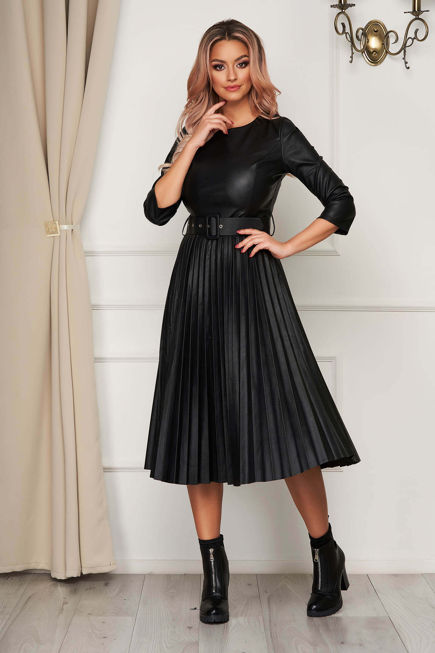 Black dress midi daily folded up from ecological leather cloche