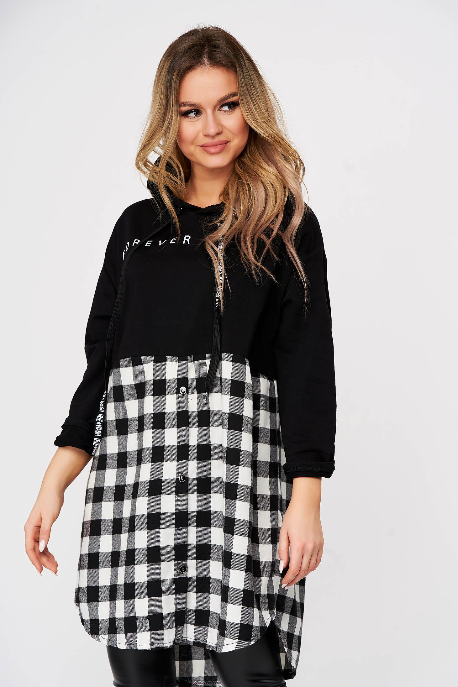 Black women`s blouse casual long flared hooded