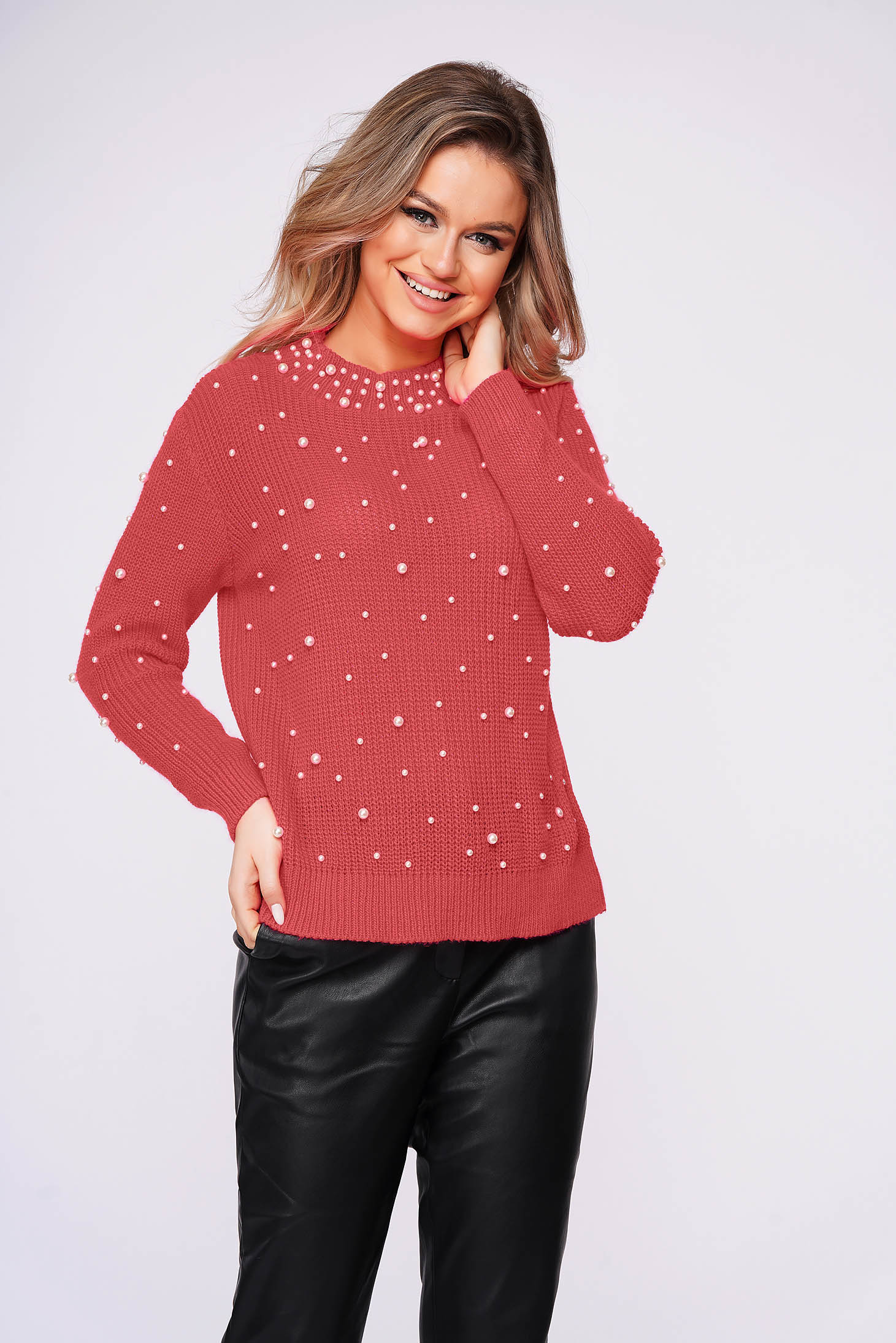 Coral sweater casual flared knitted fabric with pearls