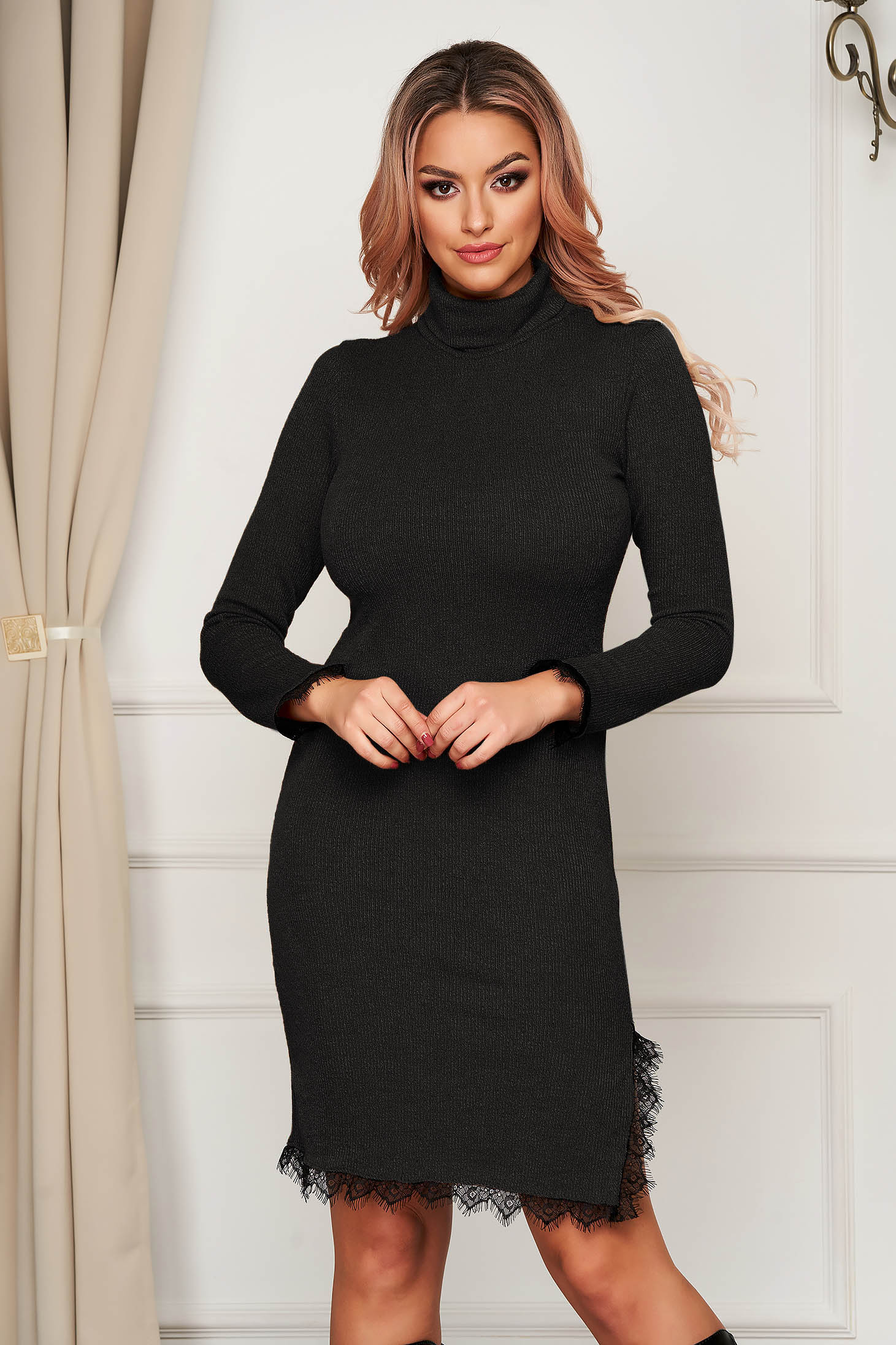 Black dress midi daily knitted with turtle neck with lace details