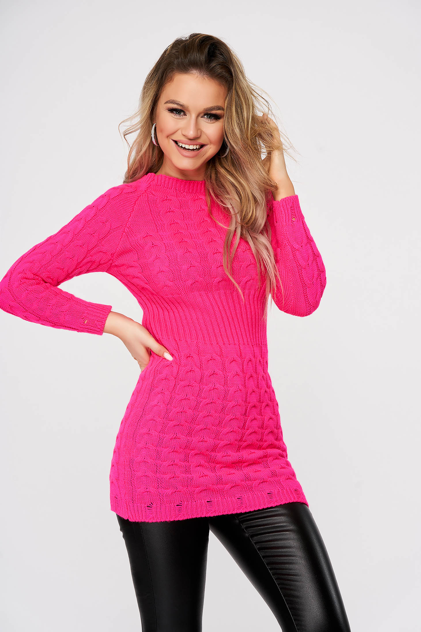 Pink sweater casual knitted fabric with tented cut
