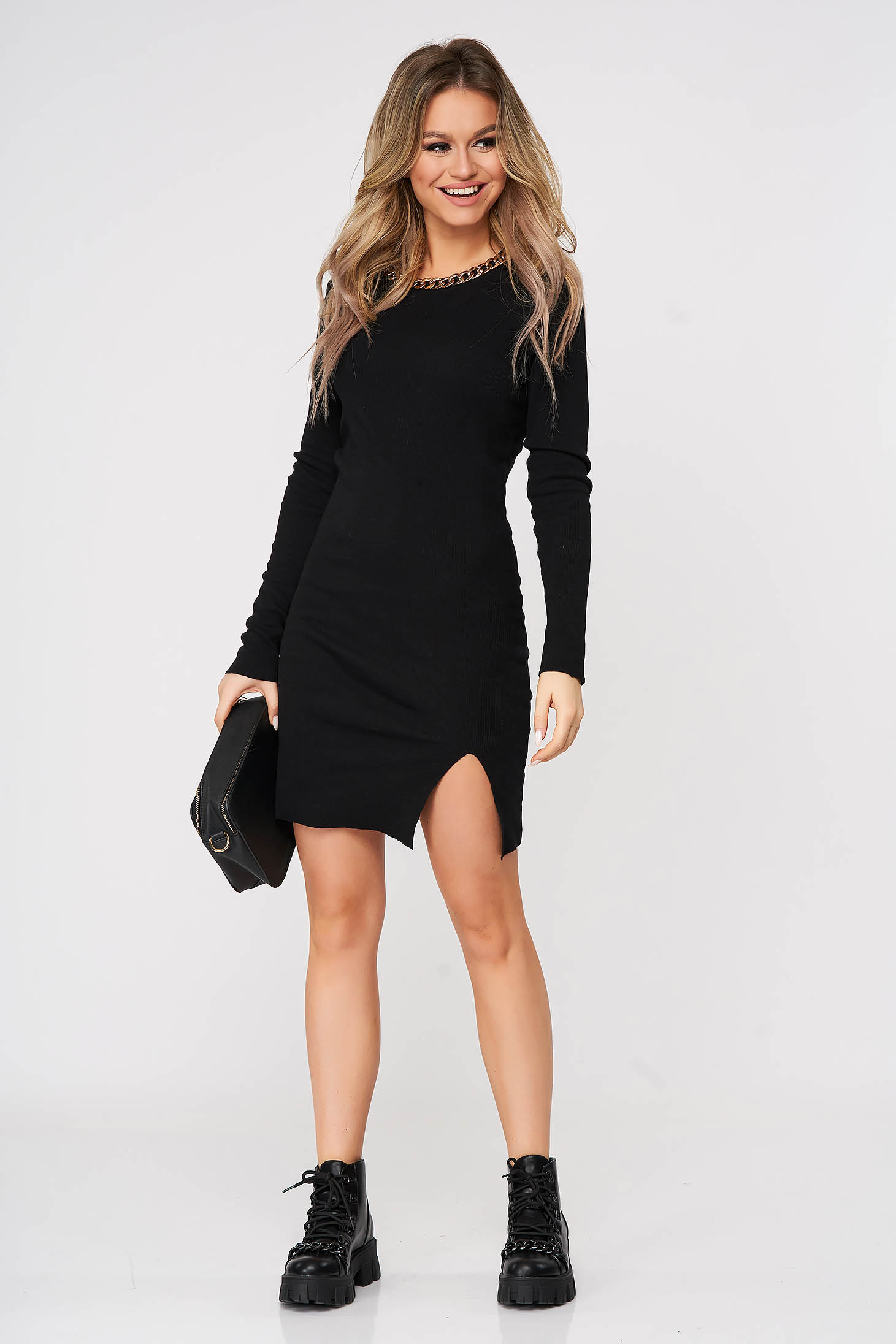 Black dress casual short cut pencil accessorized with chain from striped fabric