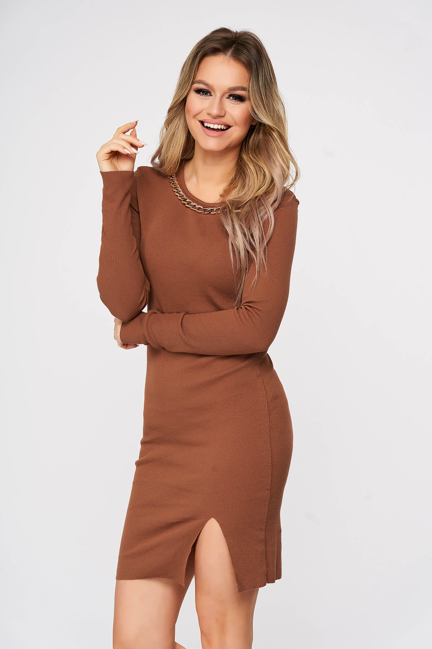 Brown dress casual short cut pencil accessorized with chain from striped fabric