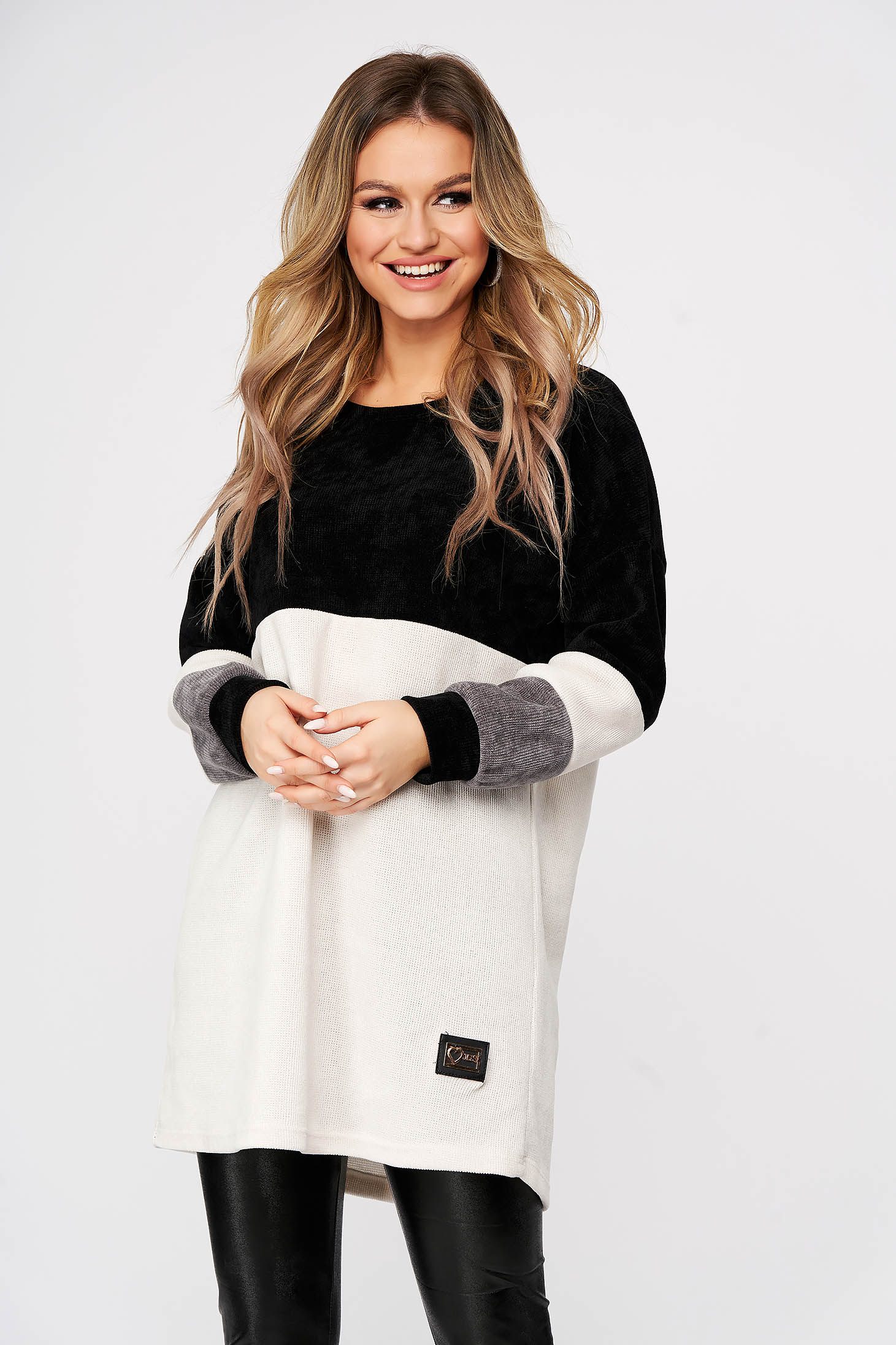 Black sweater casual flared long with rounded cleavage
