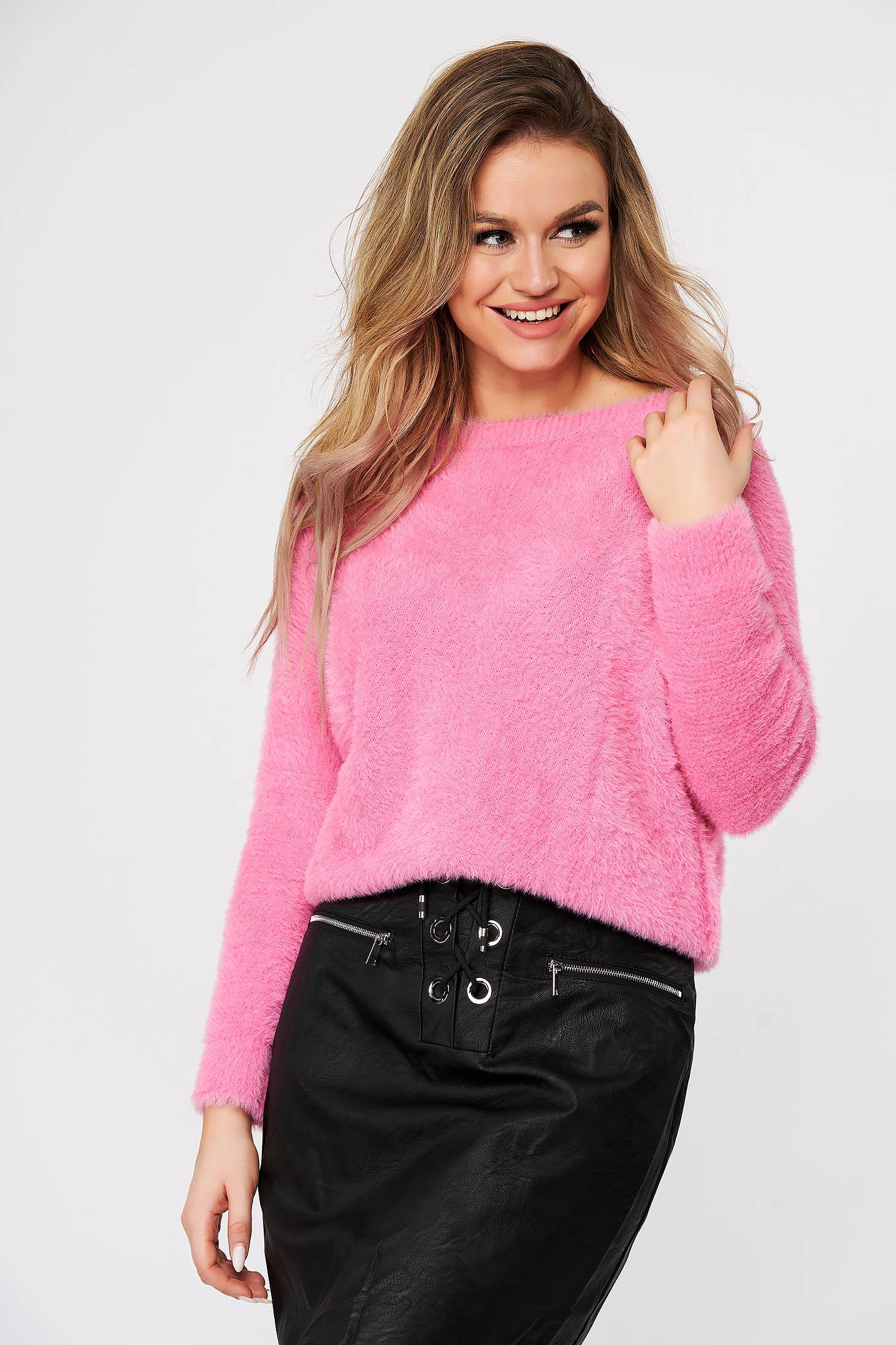 Pulover SunShine roz casual din material pufos tricotat cu croi larg
