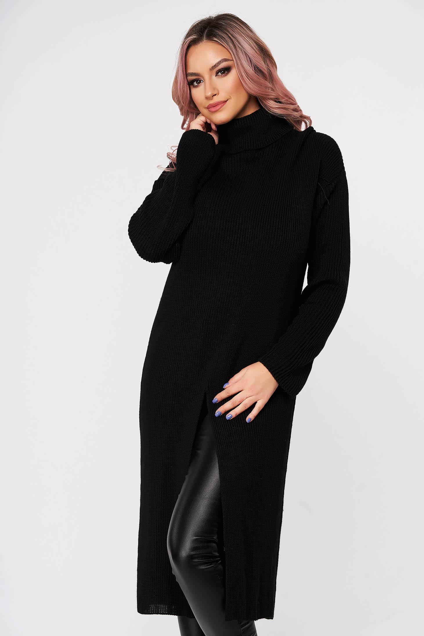 Pulover SunShine negru casual din material tricotat pe gat cu croi larg