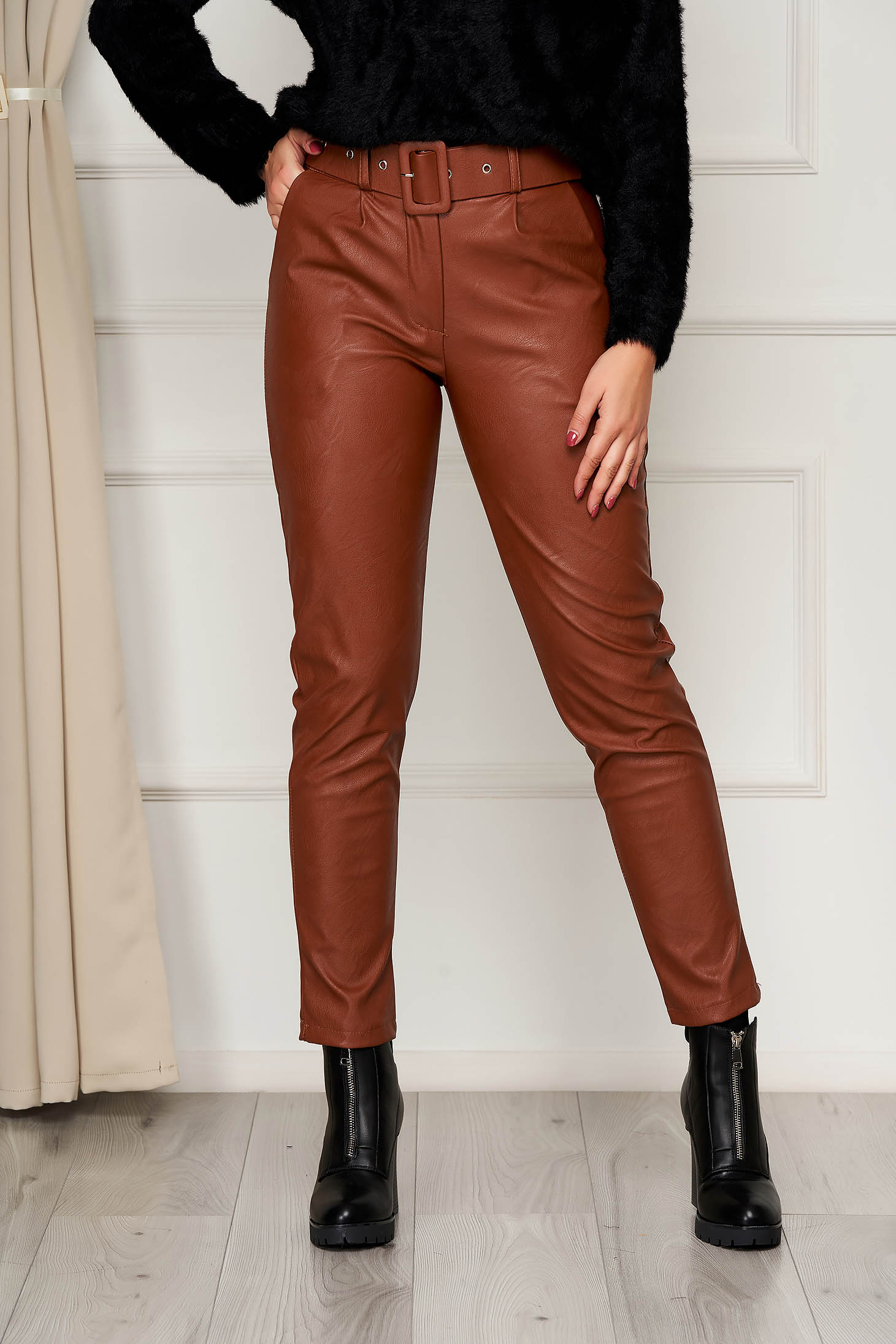 Brown trousers casual conical from ecological leather with pockets high waisted