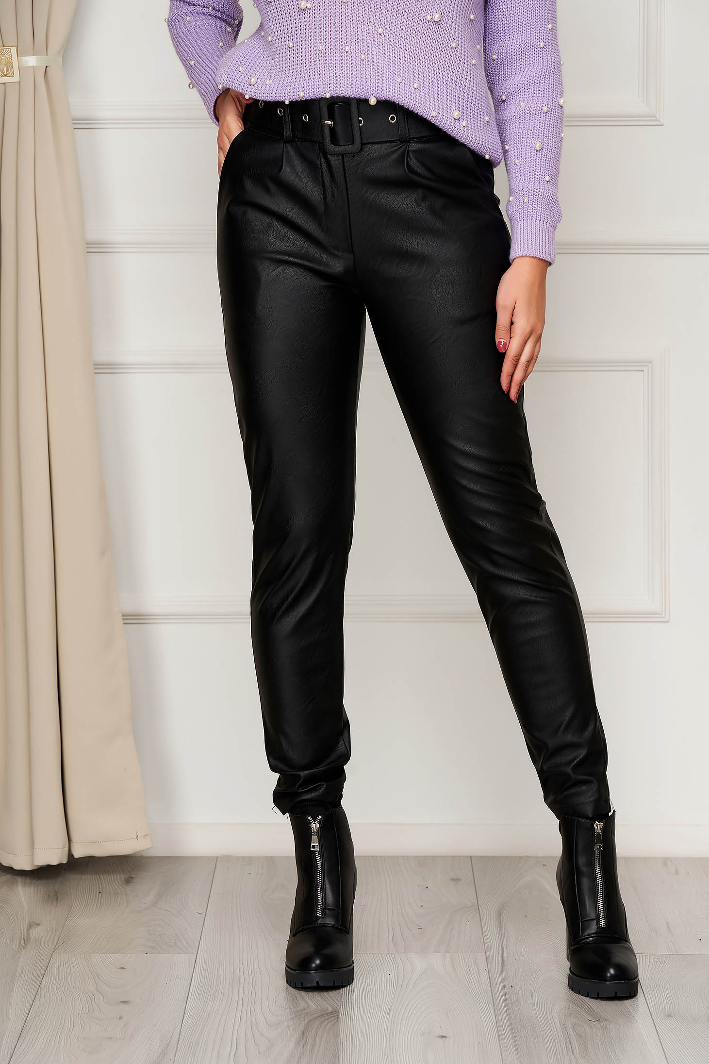 Black trousers casual conical from ecological leather with pockets high waisted