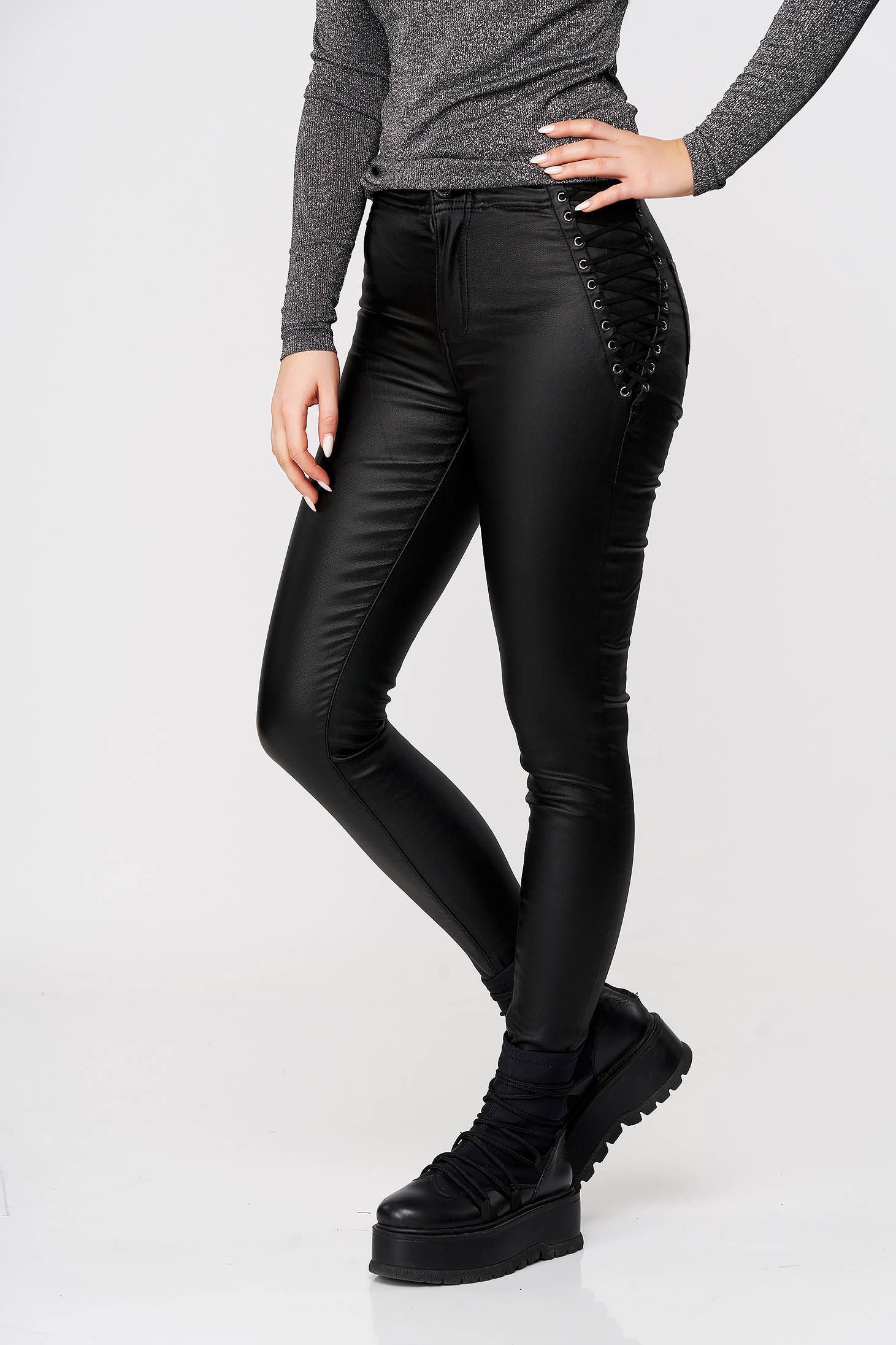 Black trousers with tented cut faux leather with laced details casual high waisted