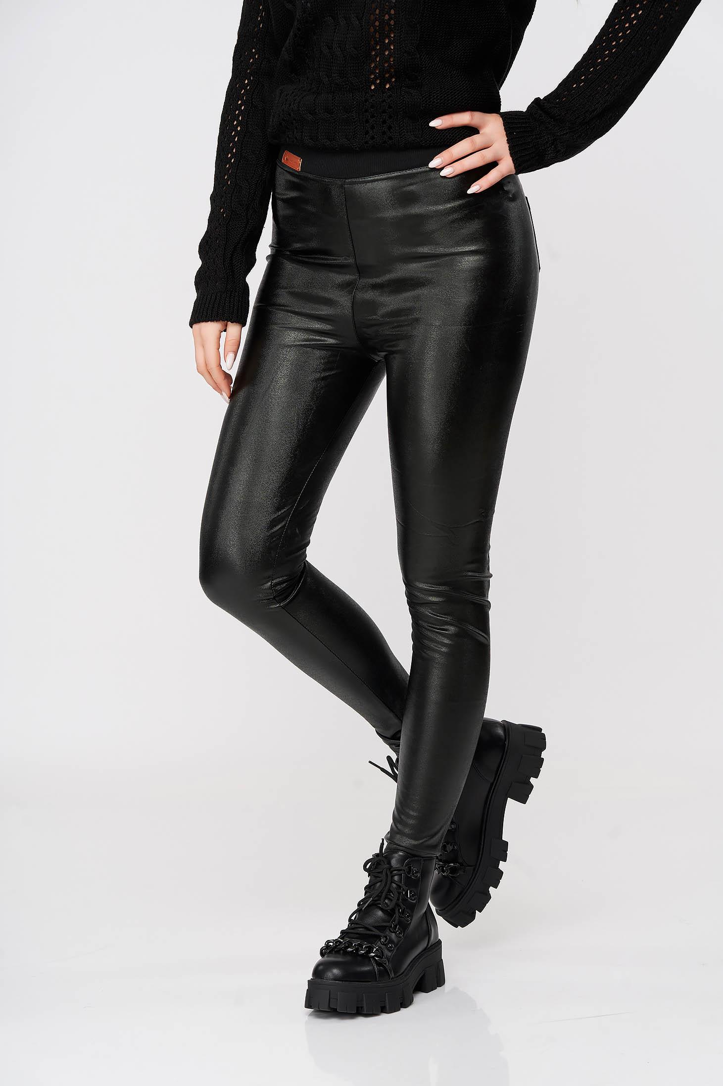 Black tights with elastic waist from shiny fabric medium waist