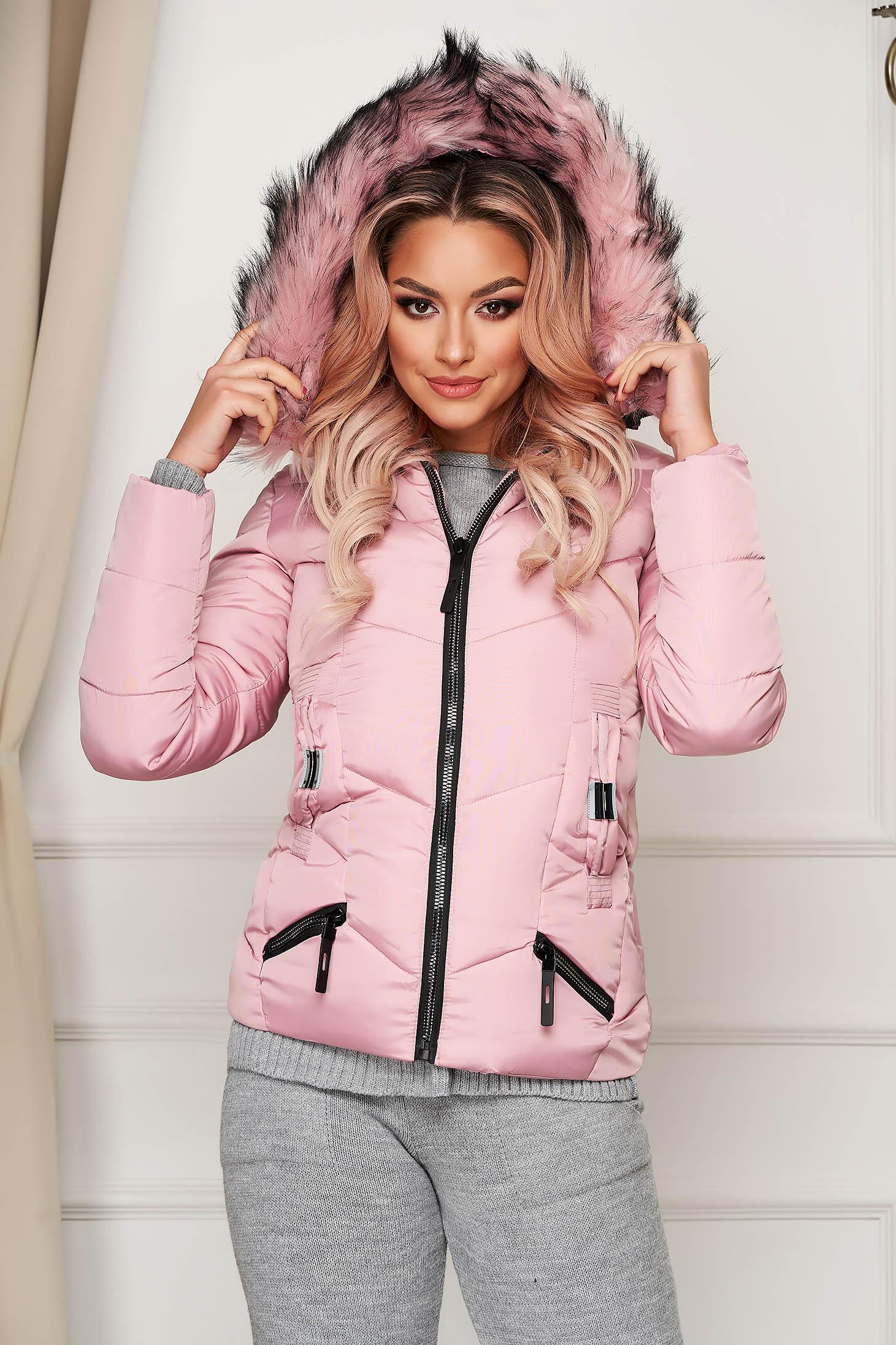 Pink casual vízlepergető rövid dzseki műszőrme díszítéssel