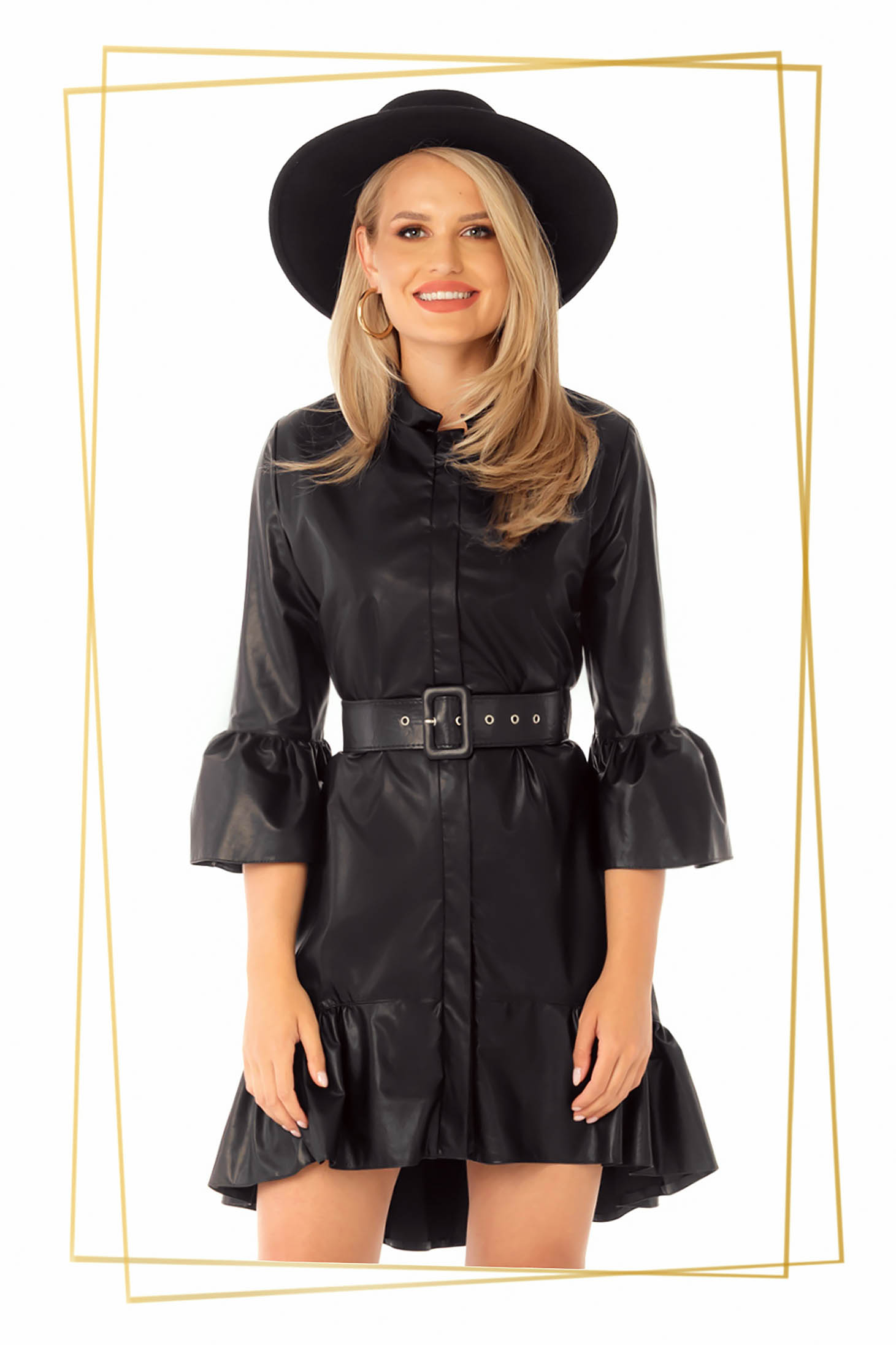 Dress asymmetrical flaring cut black with bell sleeve with ruffles at the buttom of the dress