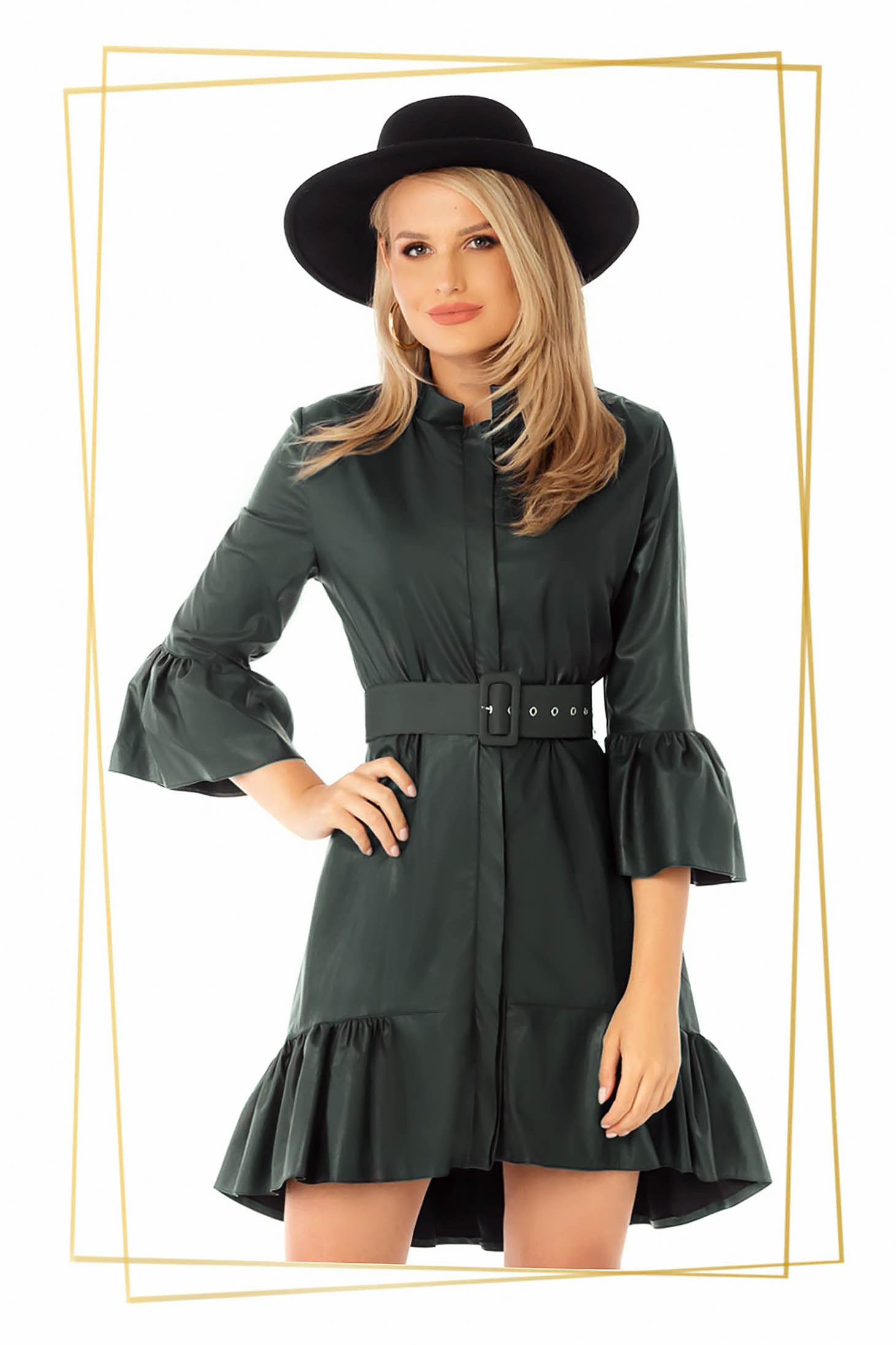 Rochie PrettyGirl din piele ecologica verde petrol asimetrica croi in clos cu maneci clopot si volanase la baza rochiei