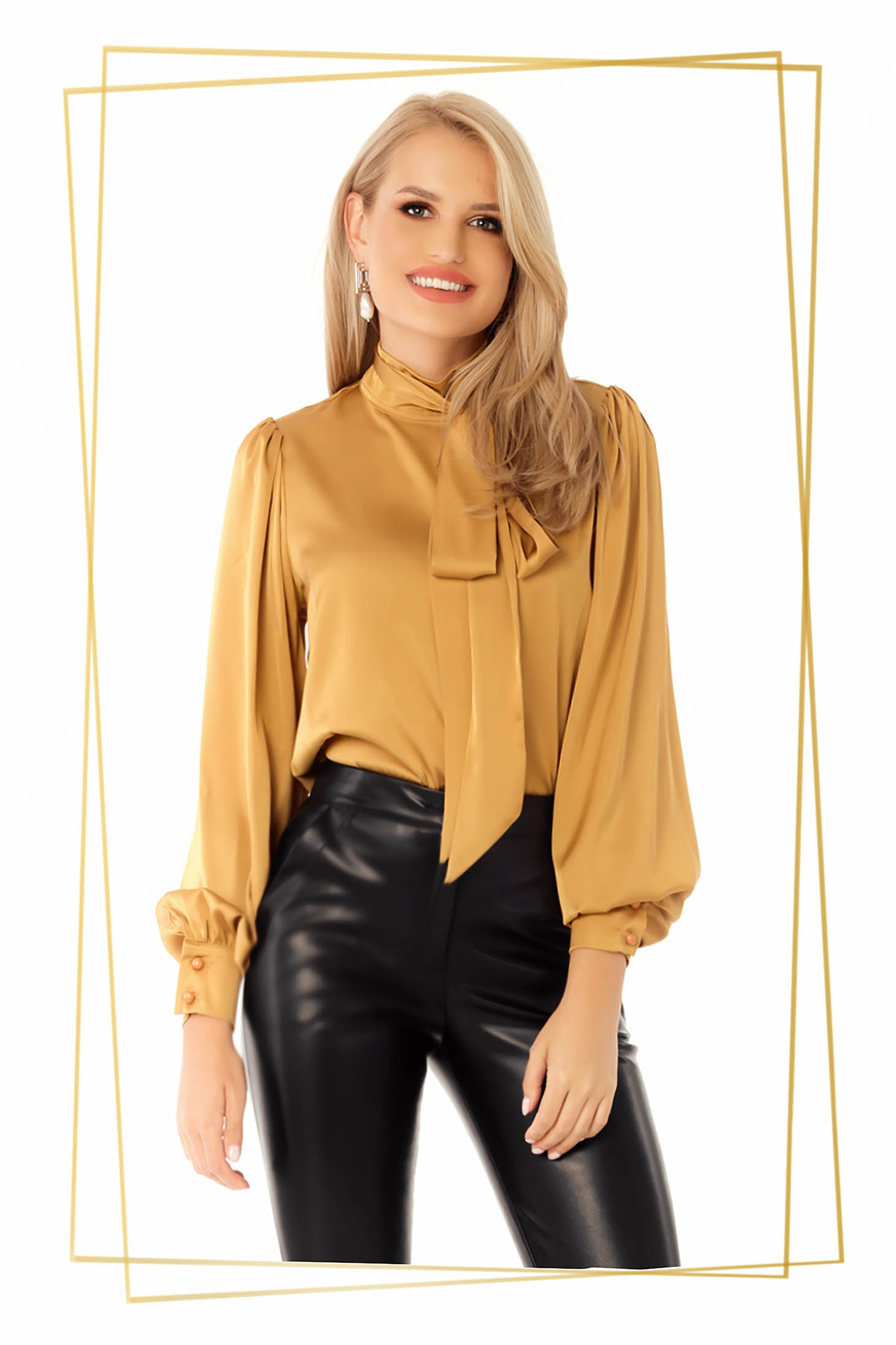 Mustard office flared women`s blouse from satin fabric texture