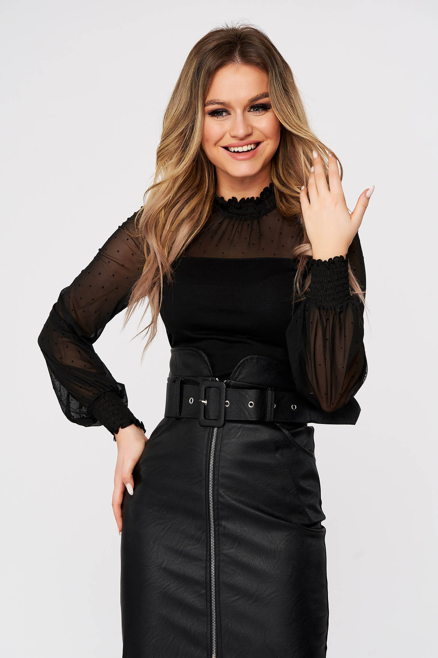 Black women`s blouse casual tented with turtle neck plumeti