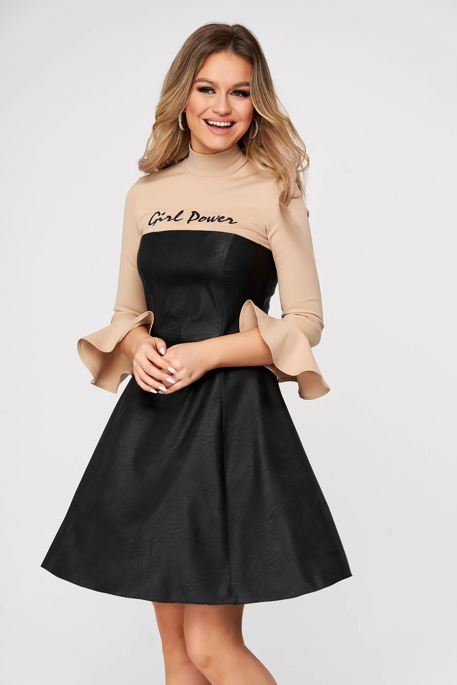 Fekete StarShinerS magas nyakú hétköznapi rövid harang ruha műbőrből
