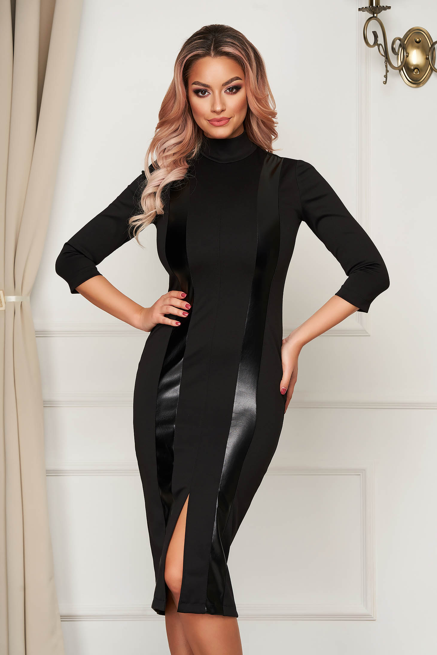 StarShinerS black dress office midi with turtle neck pencil jersey with faux leather details
