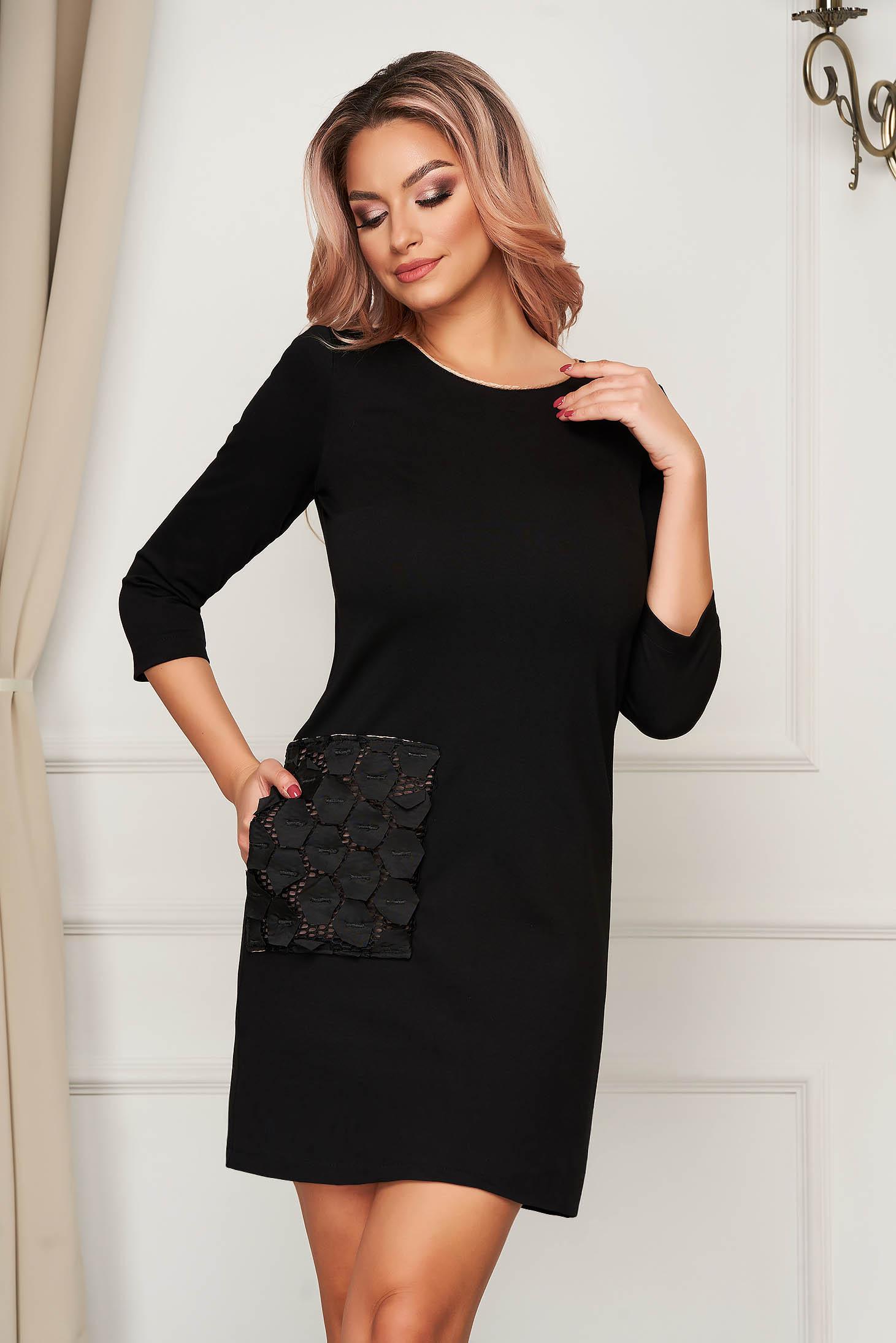 Daily midi black dress StarShinerS flared jersey with pockets net stockings