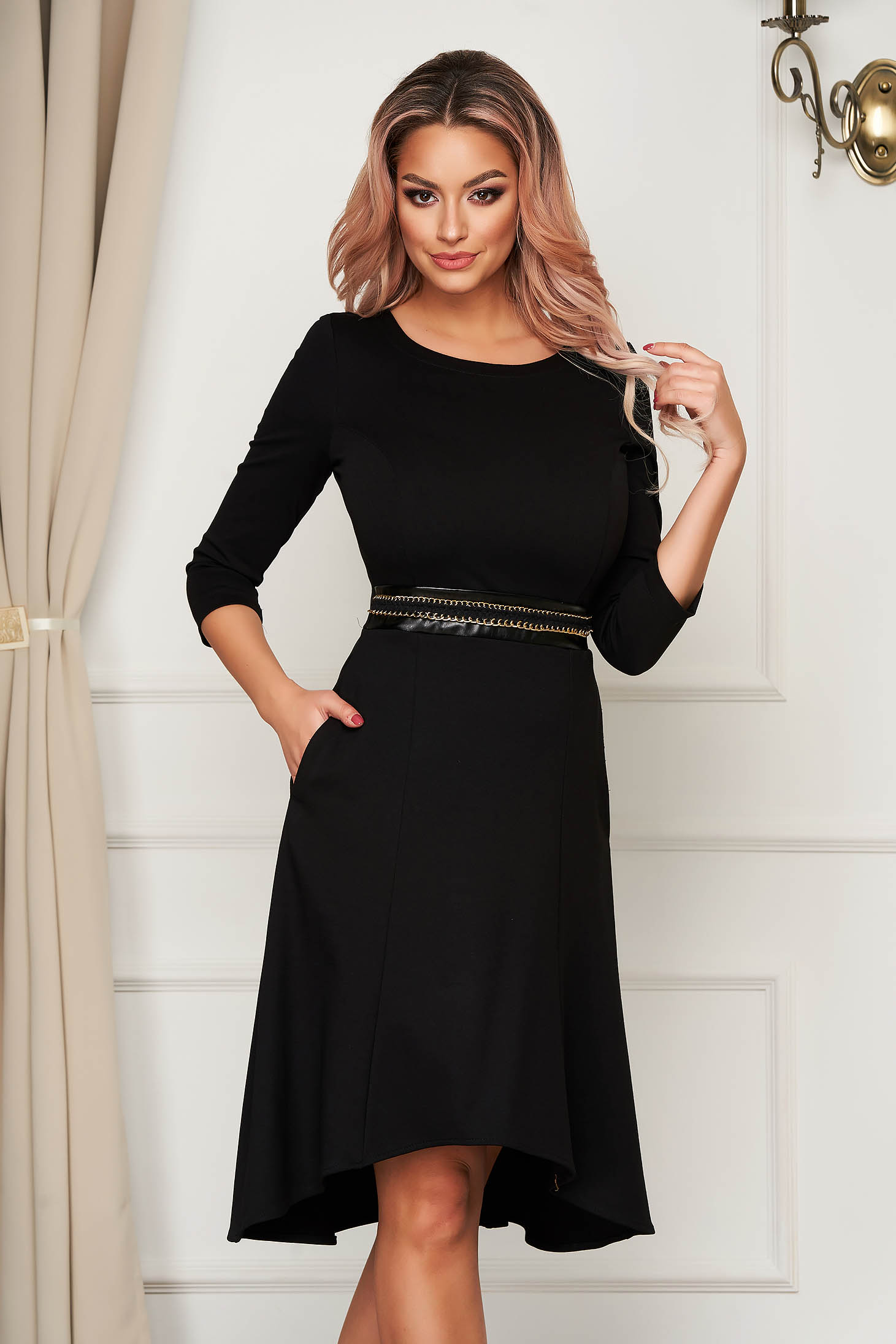 StarShinerS black dress asymmetrical daily with pockets jersey