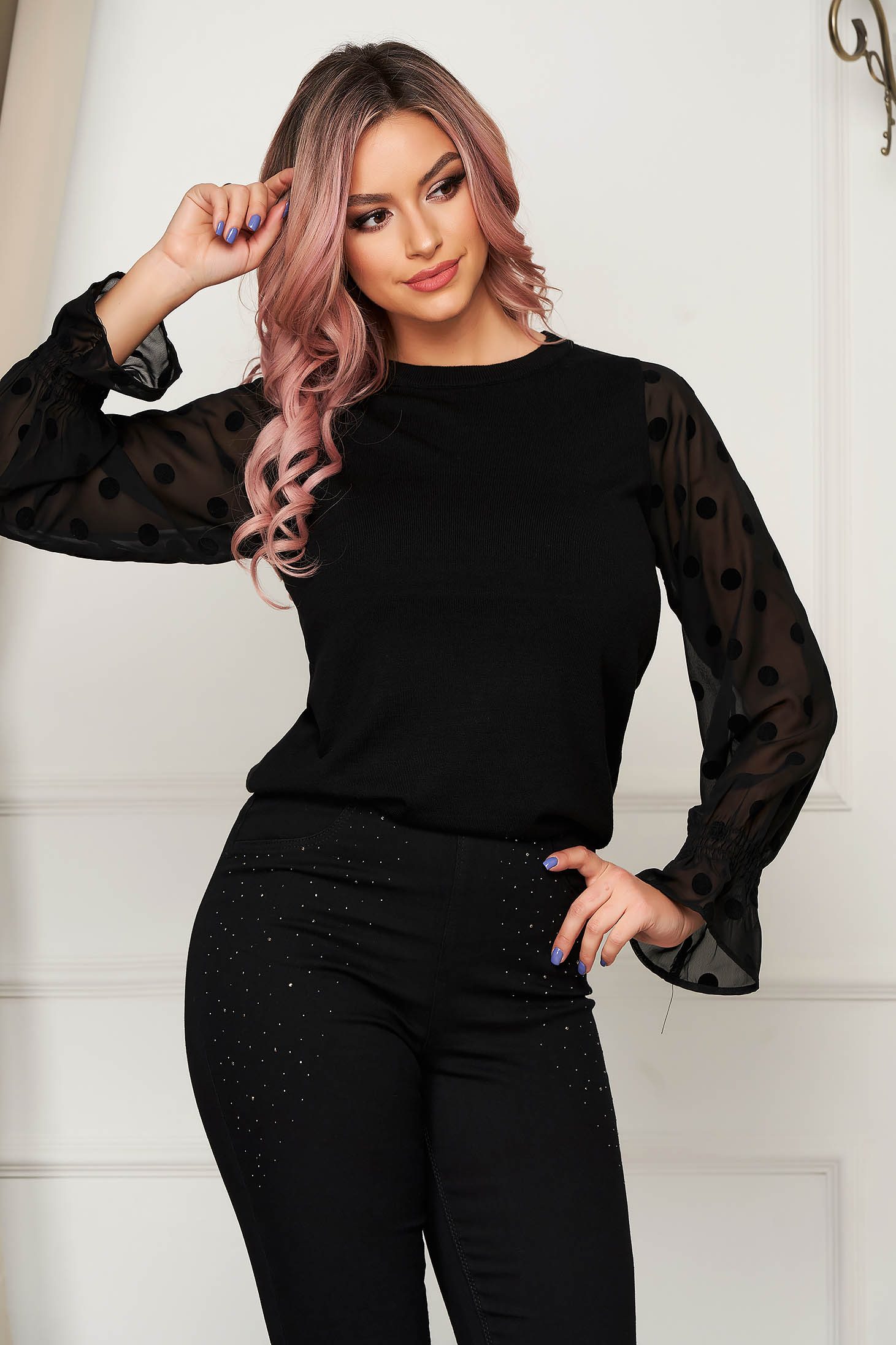 Black sweater casual with bell sleeve transparent sleeves