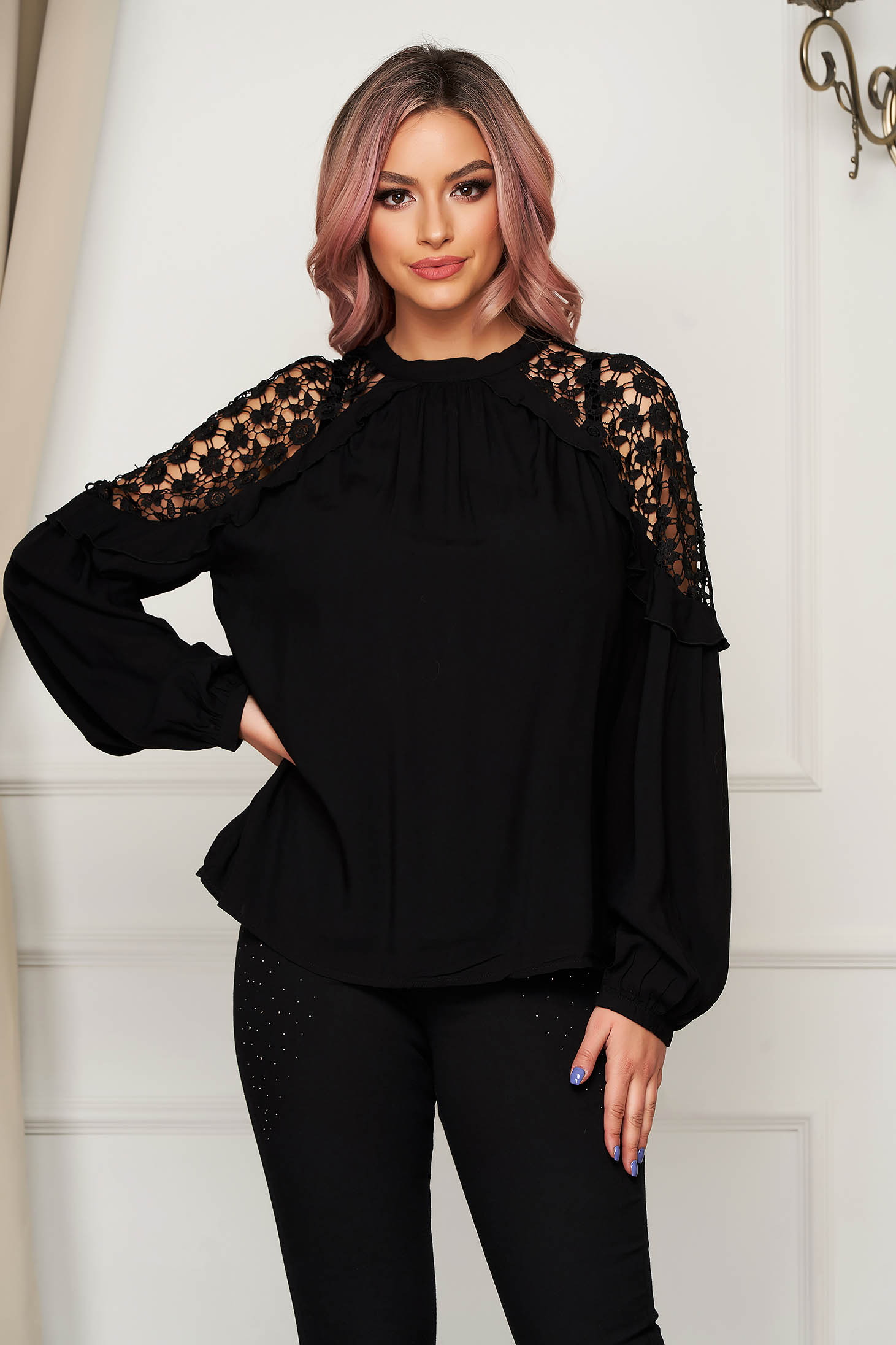Black women`s blouse casual thin fabric flared with embroidery details