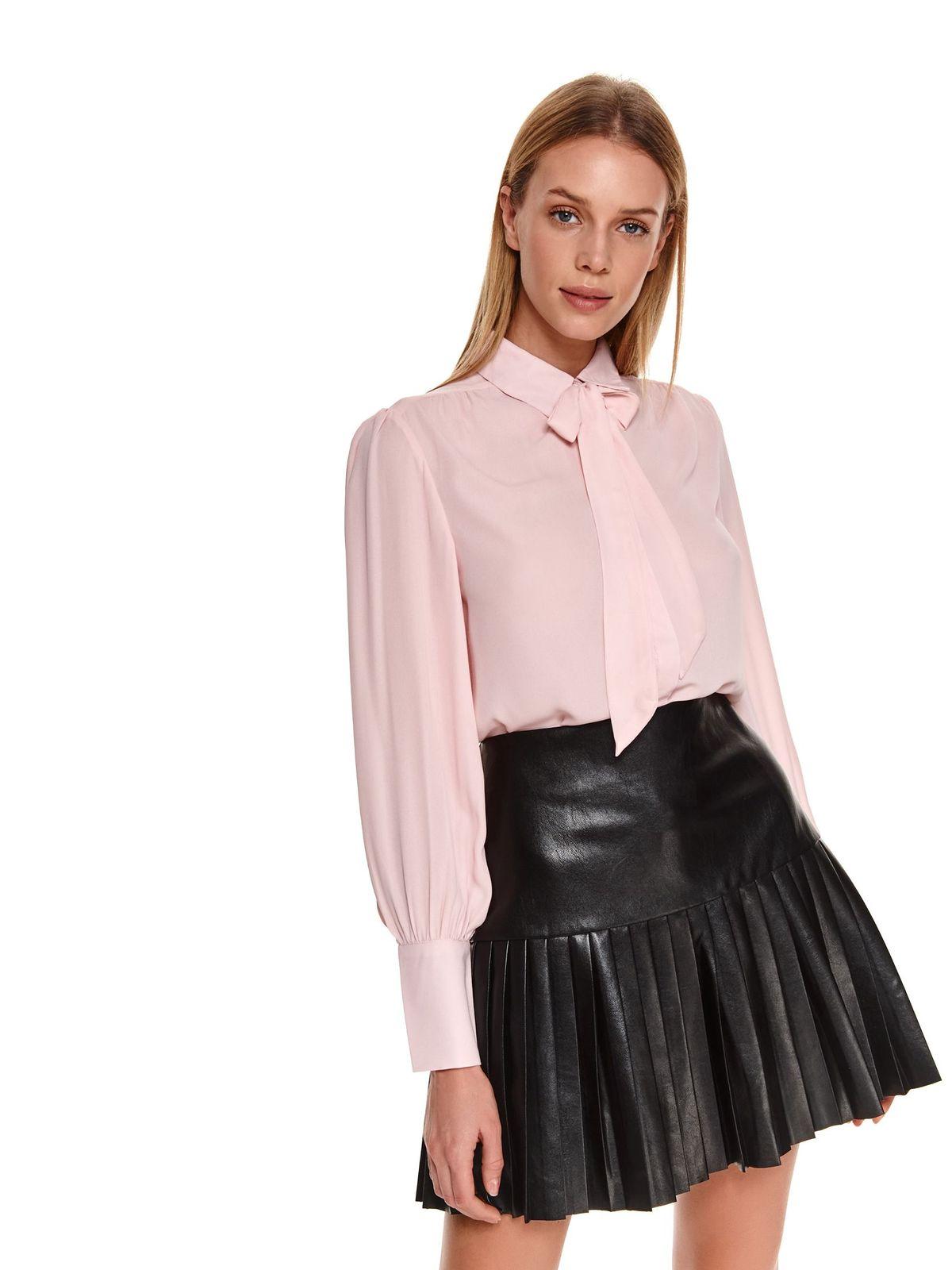 Camasa dama Top Secret roz deschis casual cu maneci lungi si guler tip esarfa