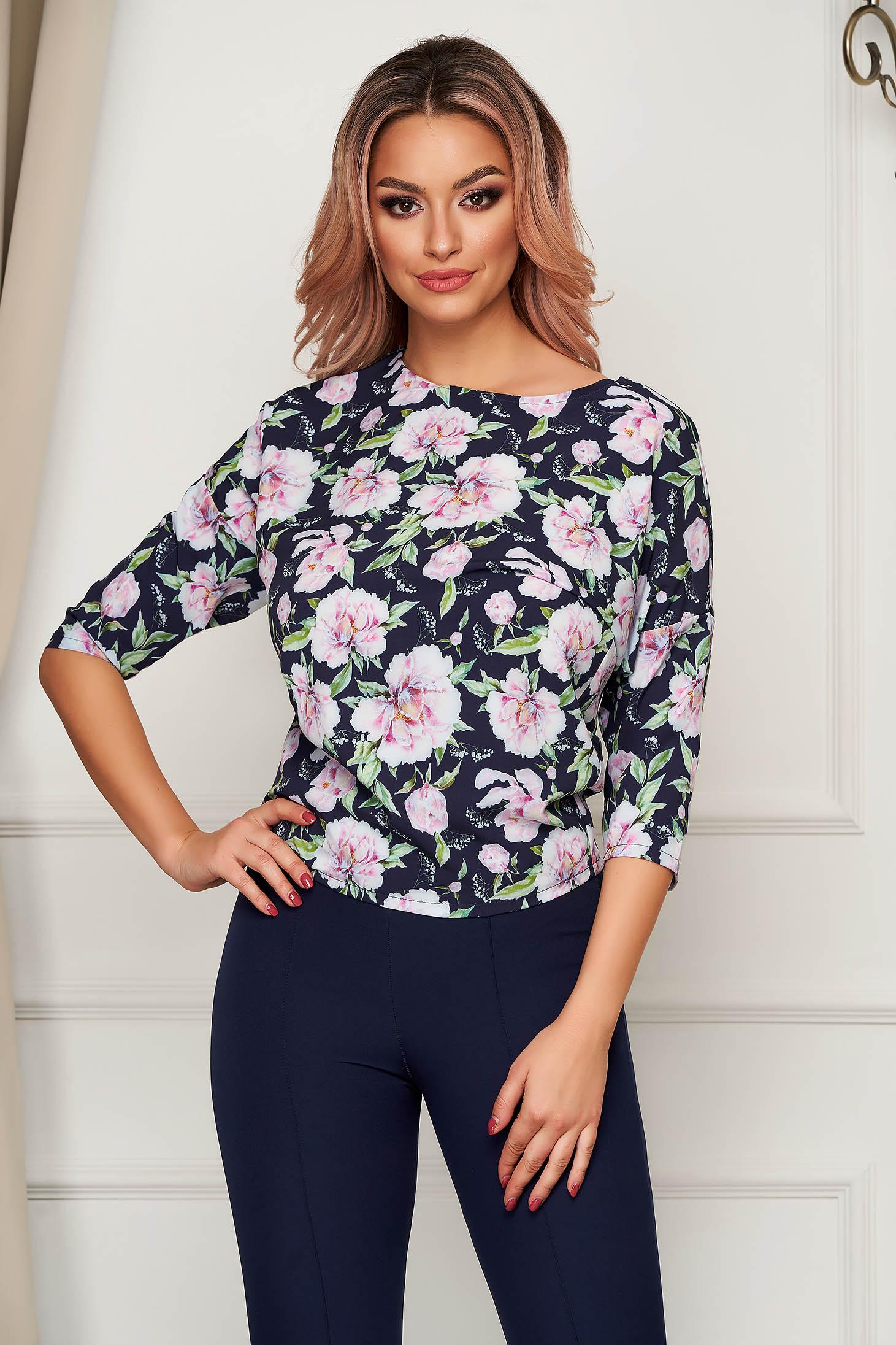 StarShinerS darkblue women`s blouse office short cut flared soft fabric