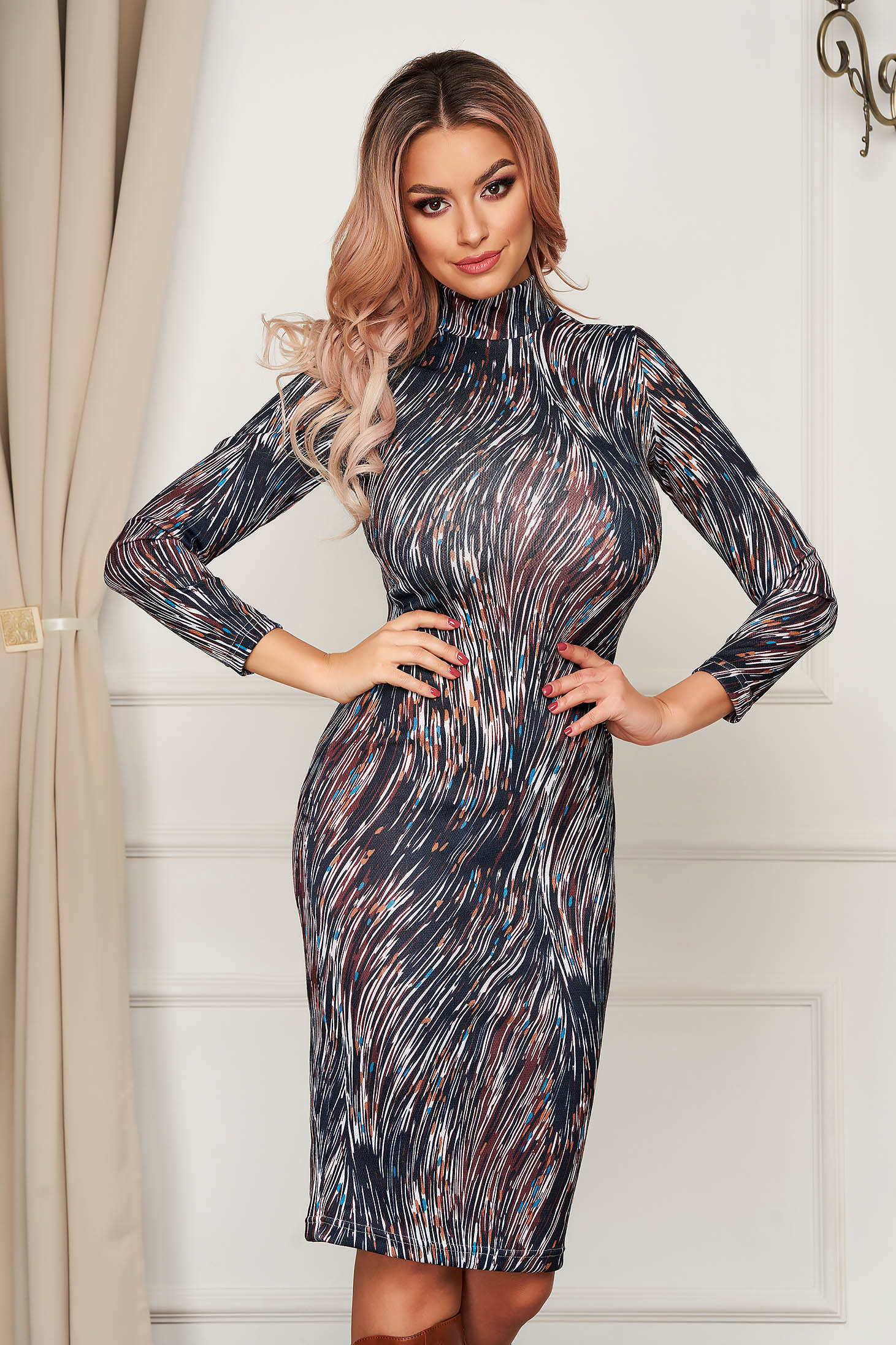 Dress StarShinerS darkgrey daily midi turtleneck with tented cut knitted fabric