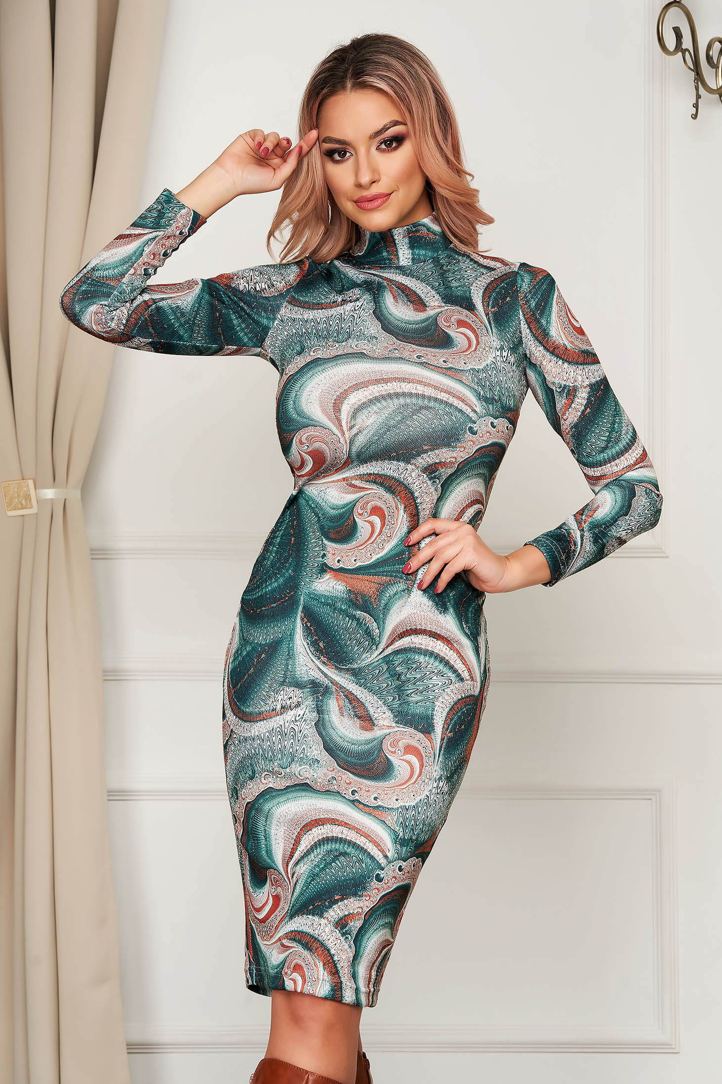 Dress StarShinerS bricky daily midi turtleneck with tented cut knitted fabric