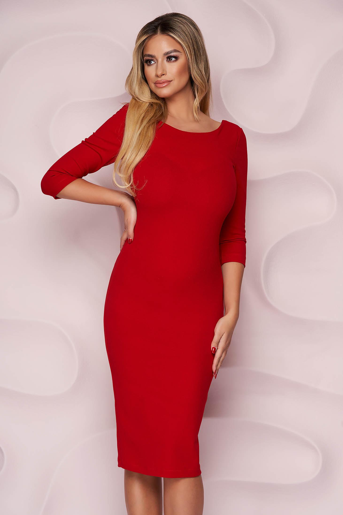 Dress elegant midi StarShinerS red pencil bare back