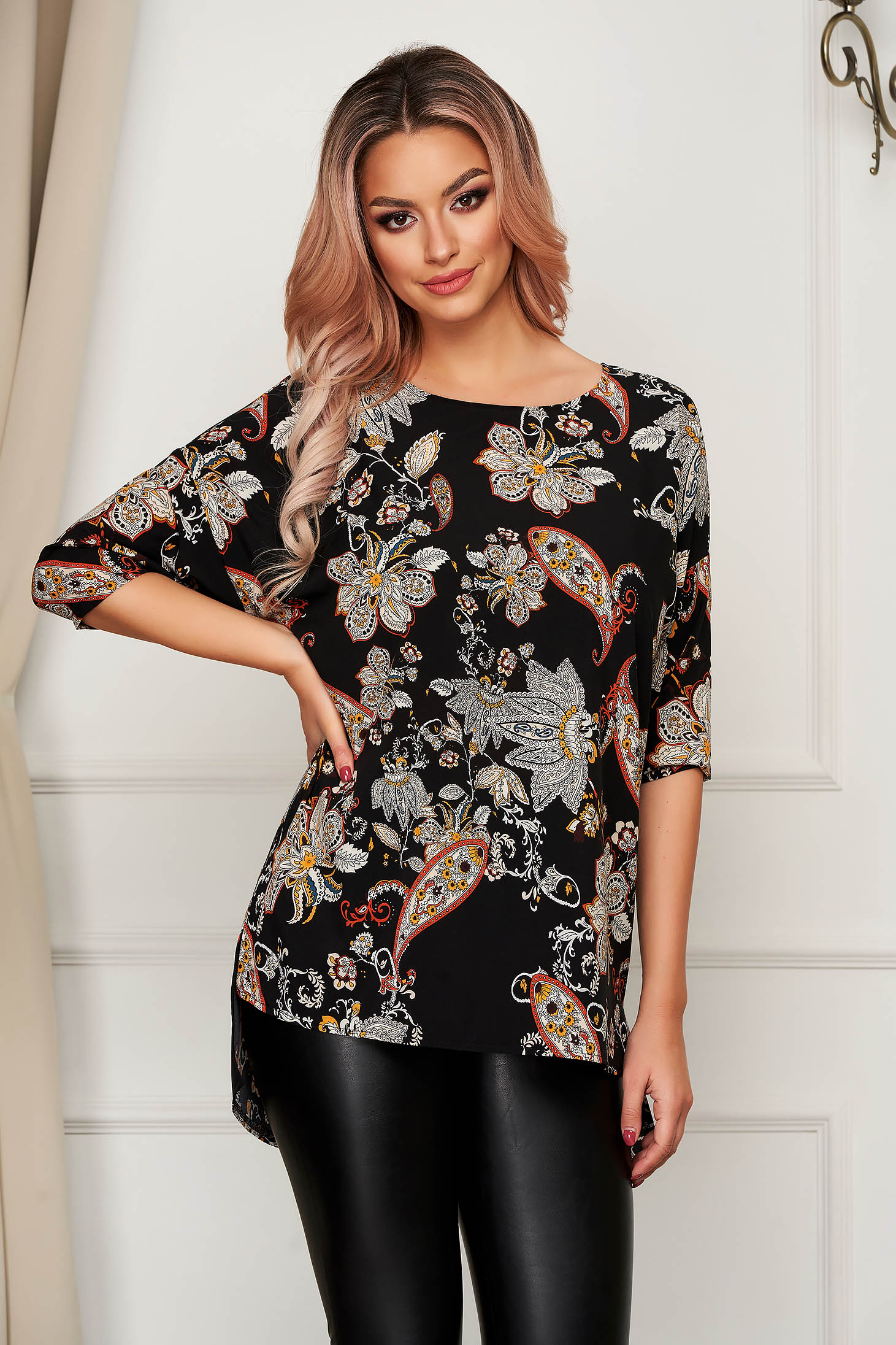 Office asymmetrical women`s blouse StarShinerS black super soft skin with rounded cleavage